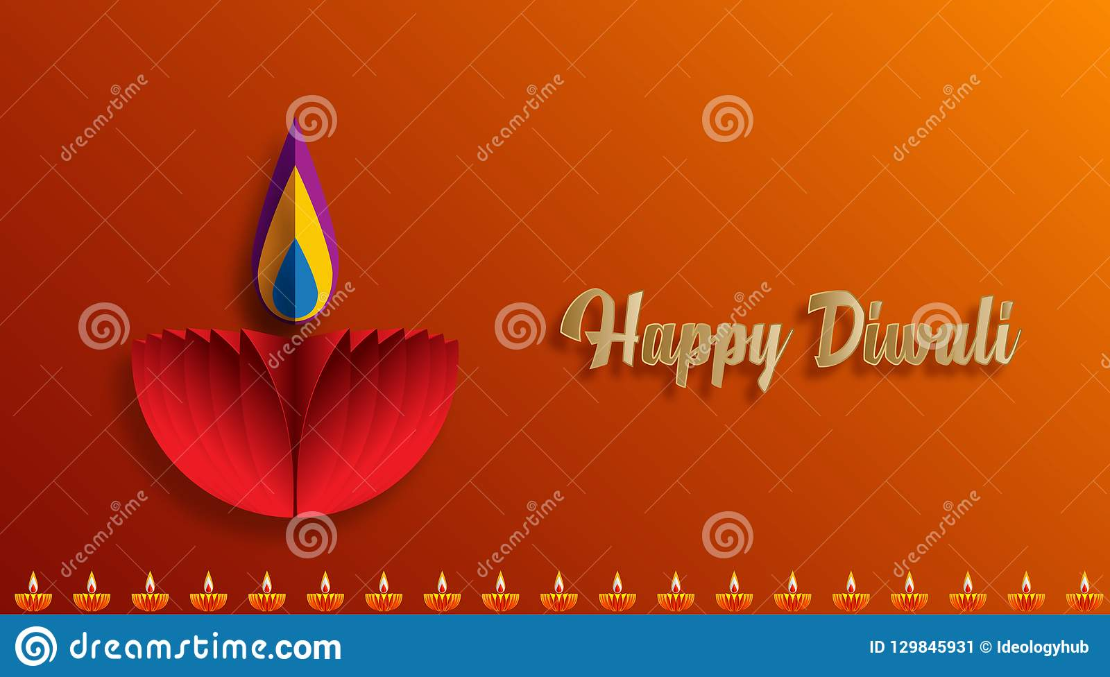 Szczęśliwe Diwali Diya lampy zaświecali podczas diwali świętowania