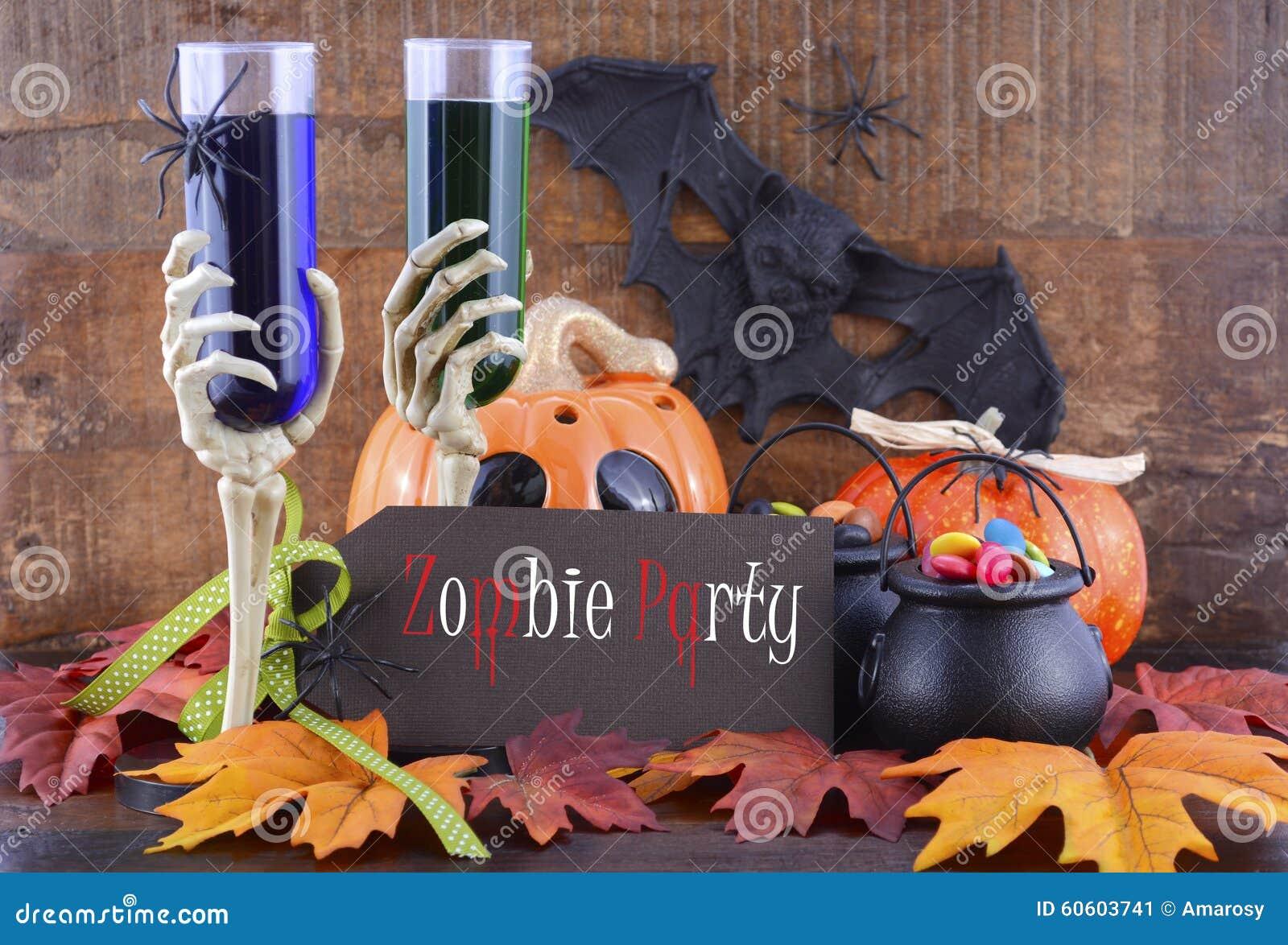 Szczęśliwe Halloweenowe żywego trupu przyjęcia dekoracje