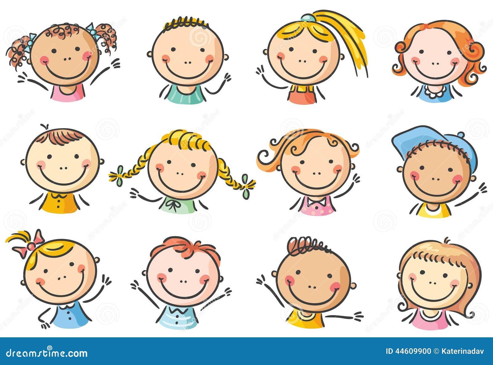 Szczęśliwe kreskówka dzieciaków twarze