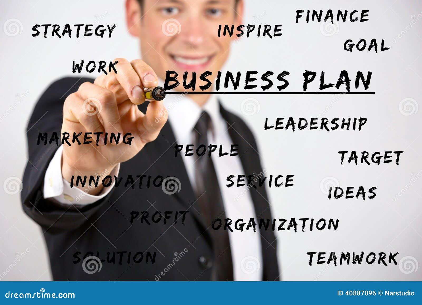 Szczęśliwego biznesmena writing biznesowi słowa kluczowe z markierem