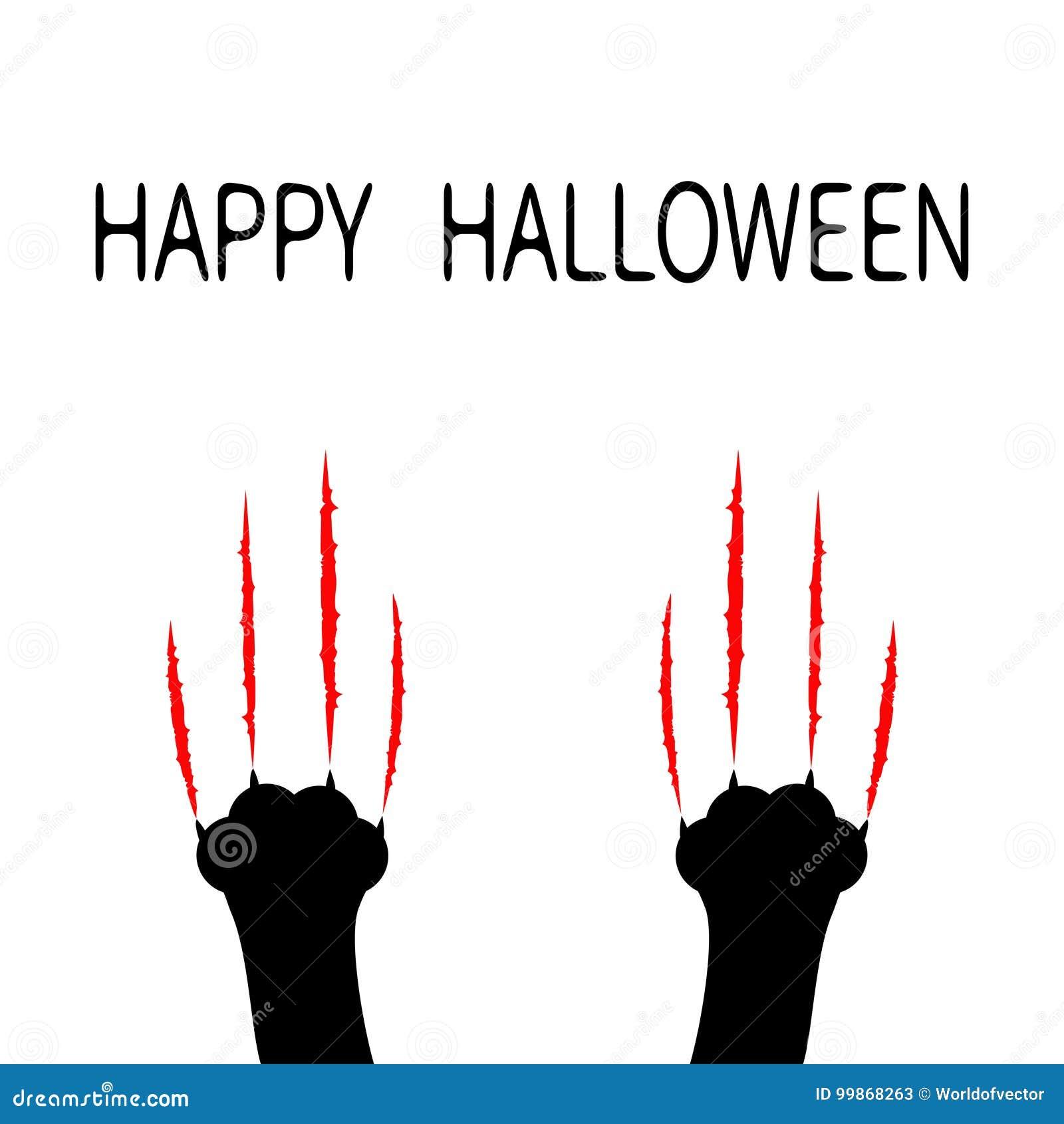 Szczęśliwego halloween Krwistych pazurów narysu szurania zwierzęcy ślad Czarnego kota łapy nogi stopy chrobotliwy set Śliczny pos