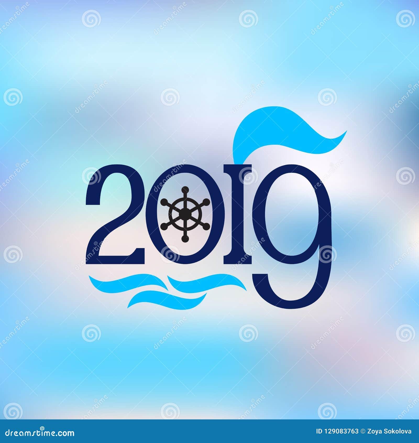 Szczęśliwego nowego roku 2019 abstrakcjonistycznego sztandaru nautyczny styl