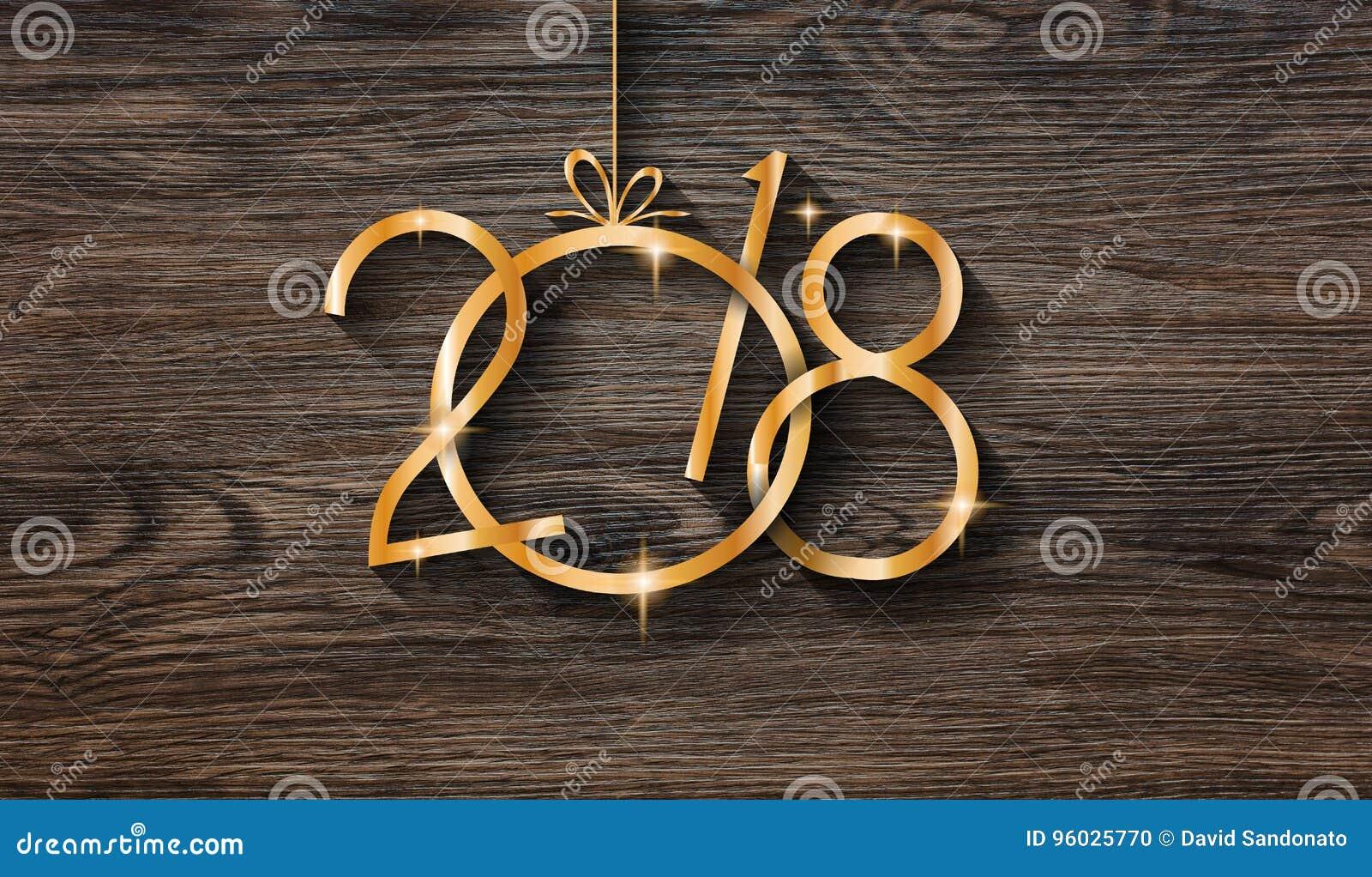 2018 Szczęśliwego nowego roku sezonowych tło z istną drewno zieleni sosną