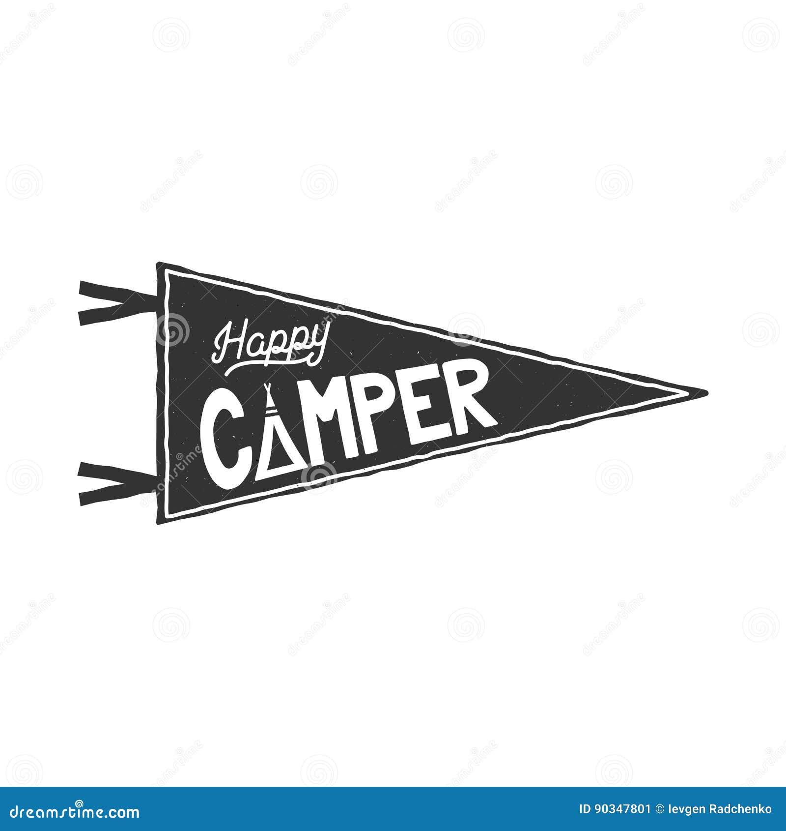 Szczęśliwego obozowicza banderki szablon Typografia projekta i plenerowej aktywności symbol - namiot monochrom Wektor odizolowywa