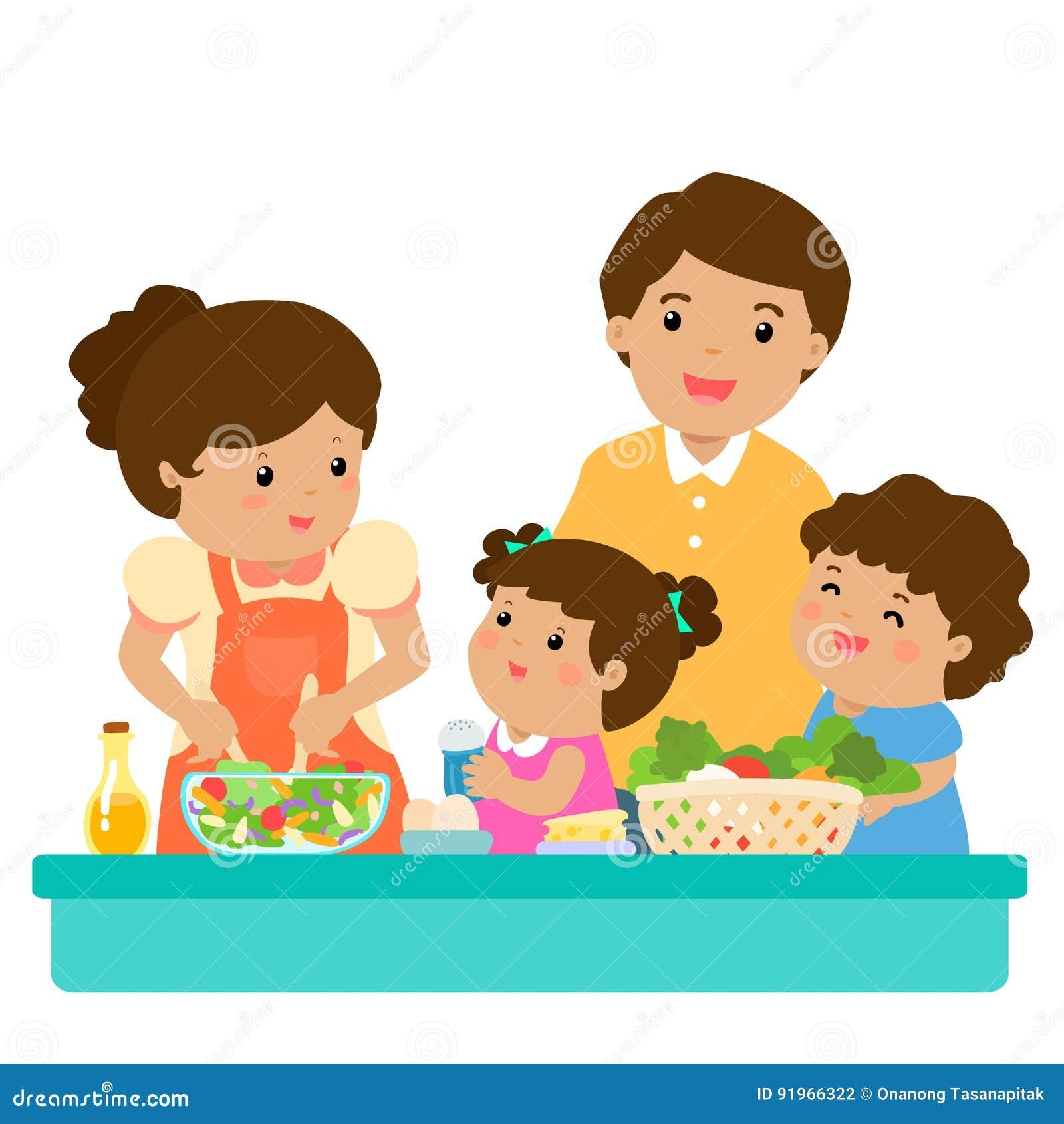 Szczęśliwego rodzina kucharza jedzenia zdrowy postać z kreskówki wpólnie