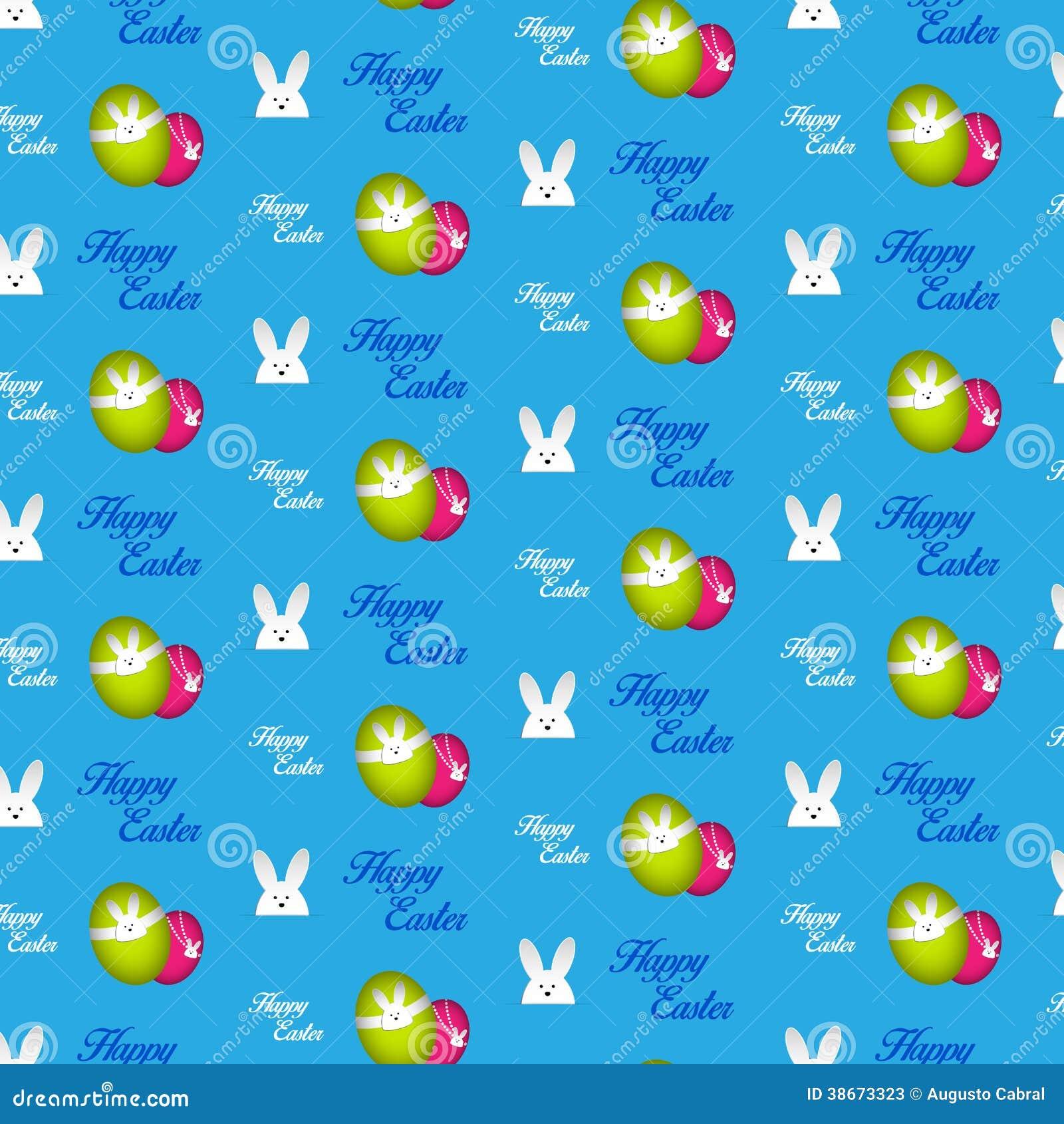 Szczęśliwego Wielkanocnego królika królika Błękitny Bezszwowy tło