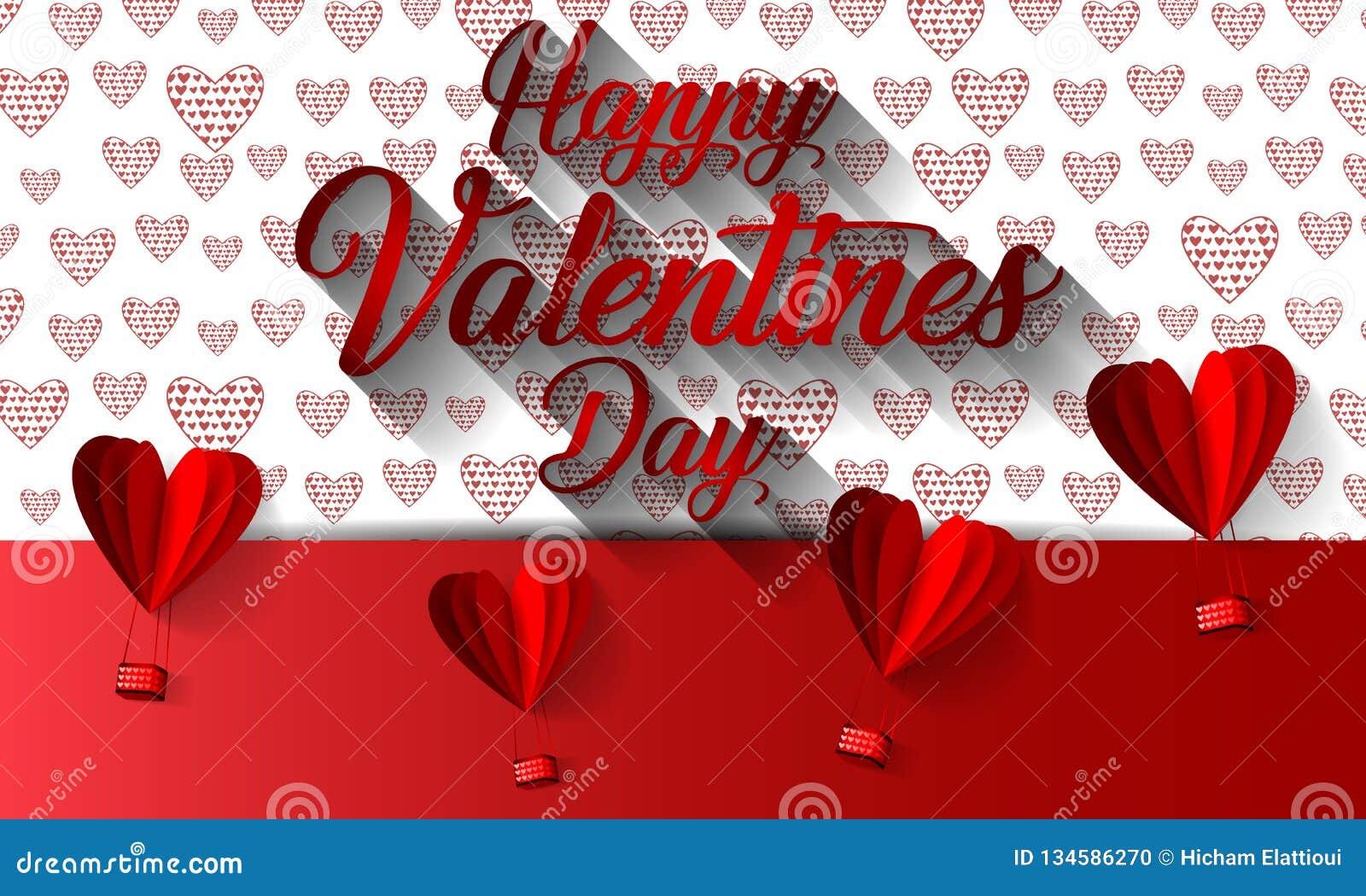 Szczęśliwej valentines dnia typografii wektorowy projekt z papierowym rżniętym czerwonym kierowym kształta gorącym powietrzem szy