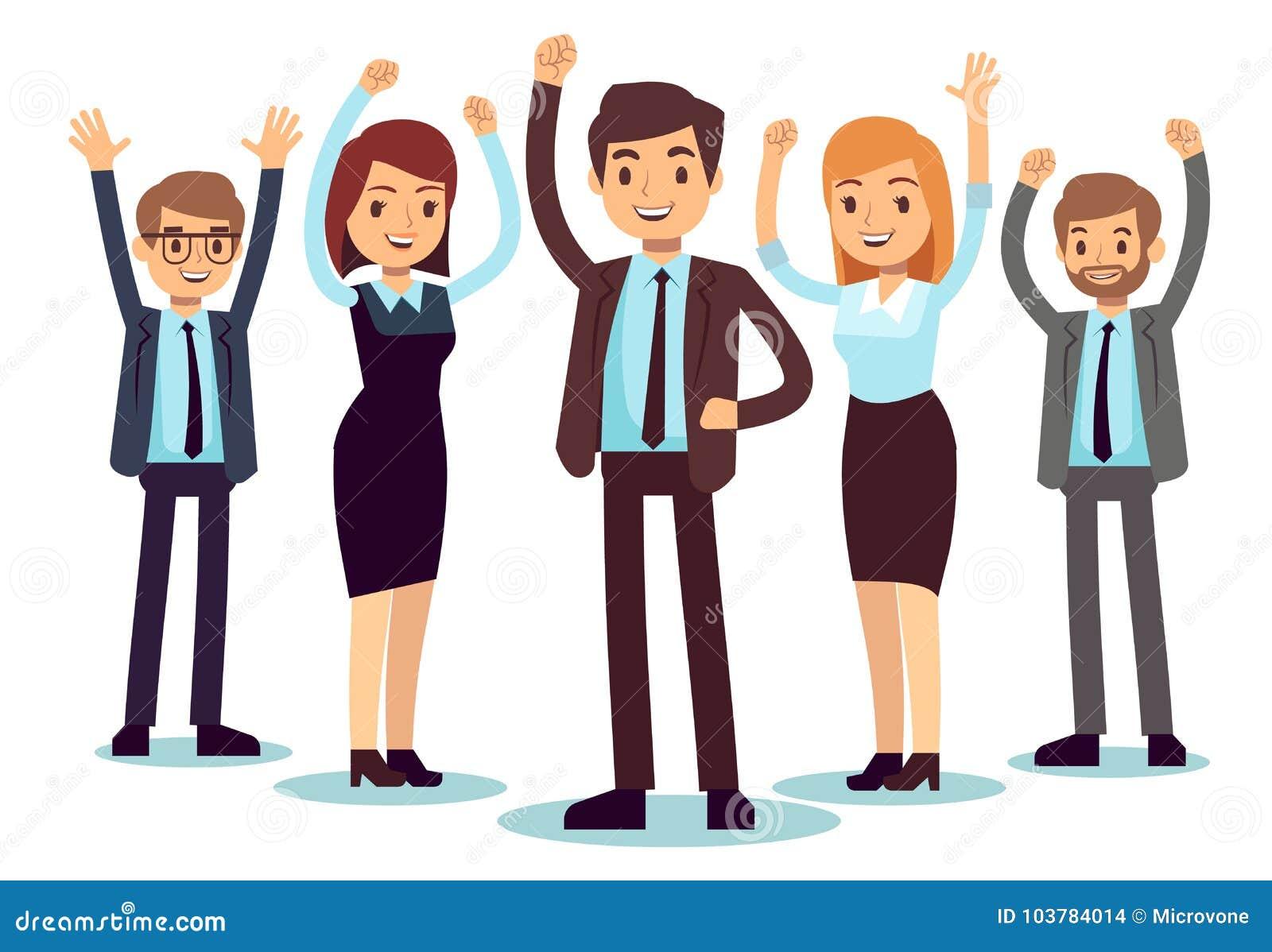 Szczęśliwi biurowi ludzie Pomyślny biznesowego mężczyzna i kobiety wektoru charakter