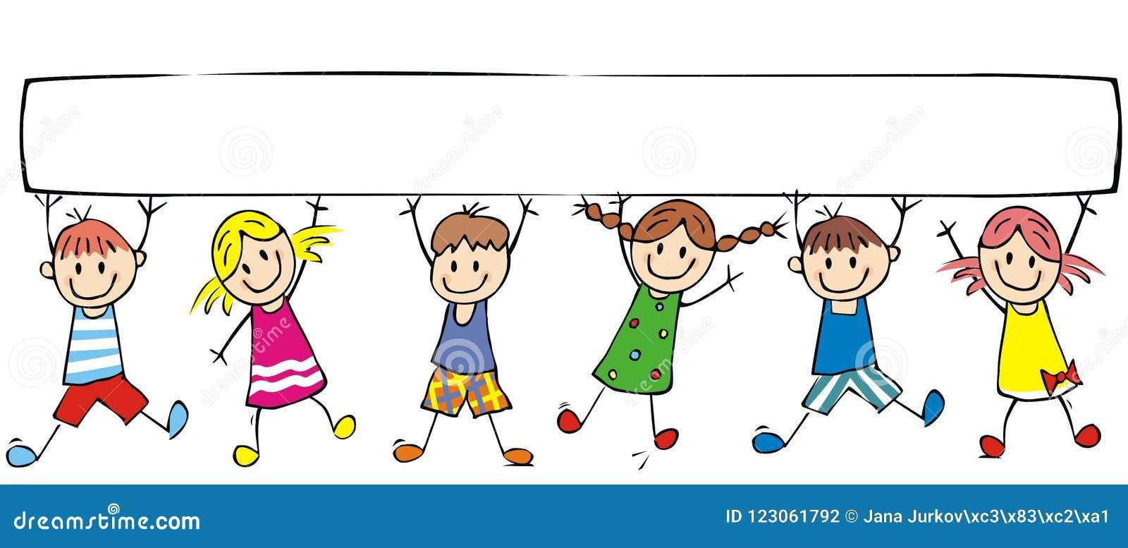 Szczęśliwi dzieci i sztandar, grupa rozochoceni dzieciaki