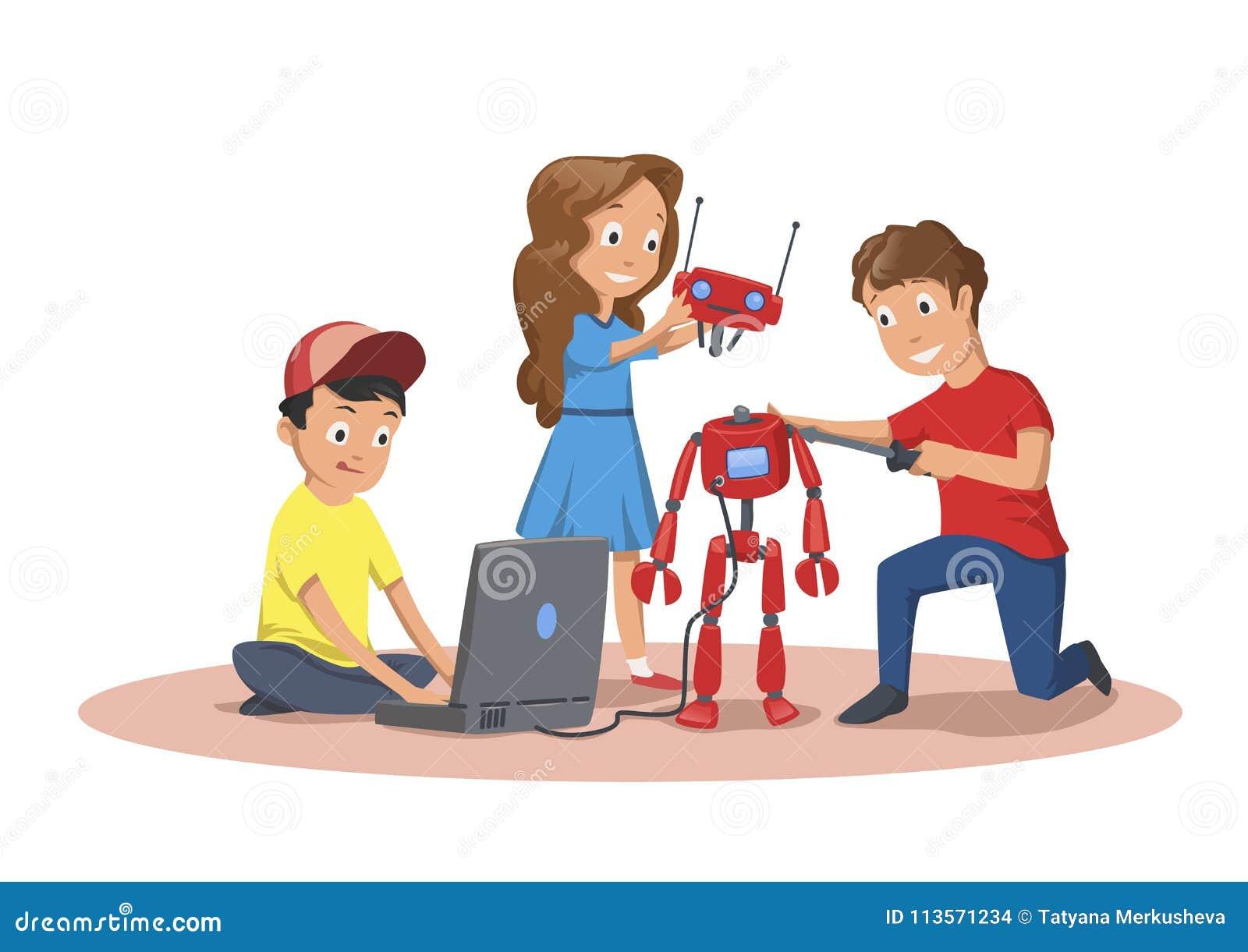 Szczęśliwi dzieci tworzy robot i programuje Dziecka ` s klub robotyka Kreskówki wektorowa ilustracja odizolowywająca dalej