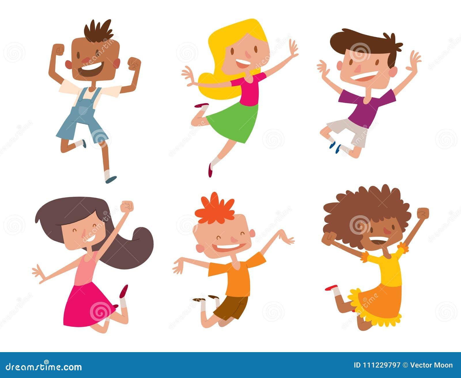 Szczęśliwi dzieci w różnych pozycj dziecka dużej wektorowej skokowej rozochoconej grupowej i śmiesznej kreskówce żartują radosnej