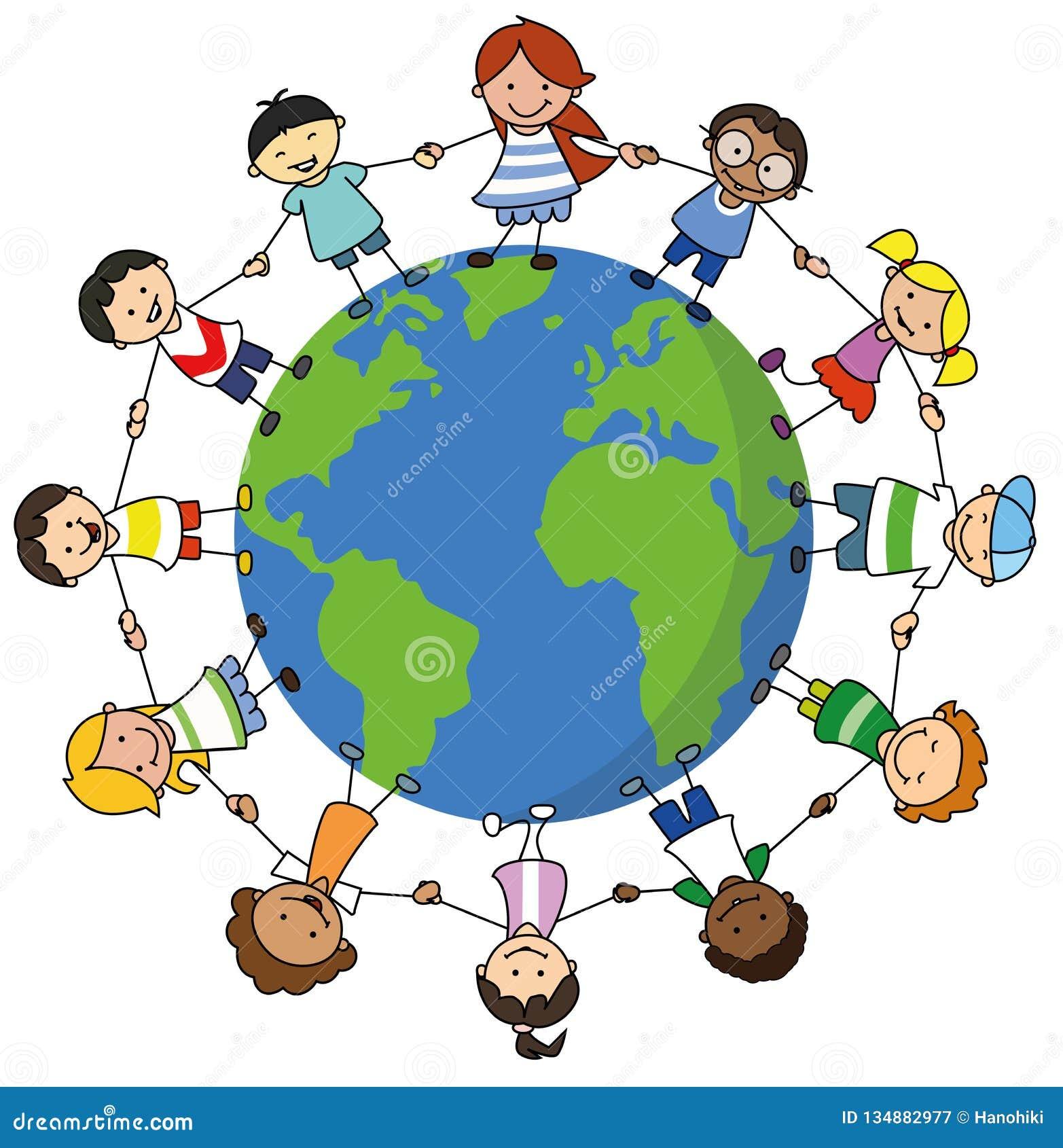 Szczęśliwi dzieciaki trzyma ręki na światowej ilustracji, dzieci dookoła świata