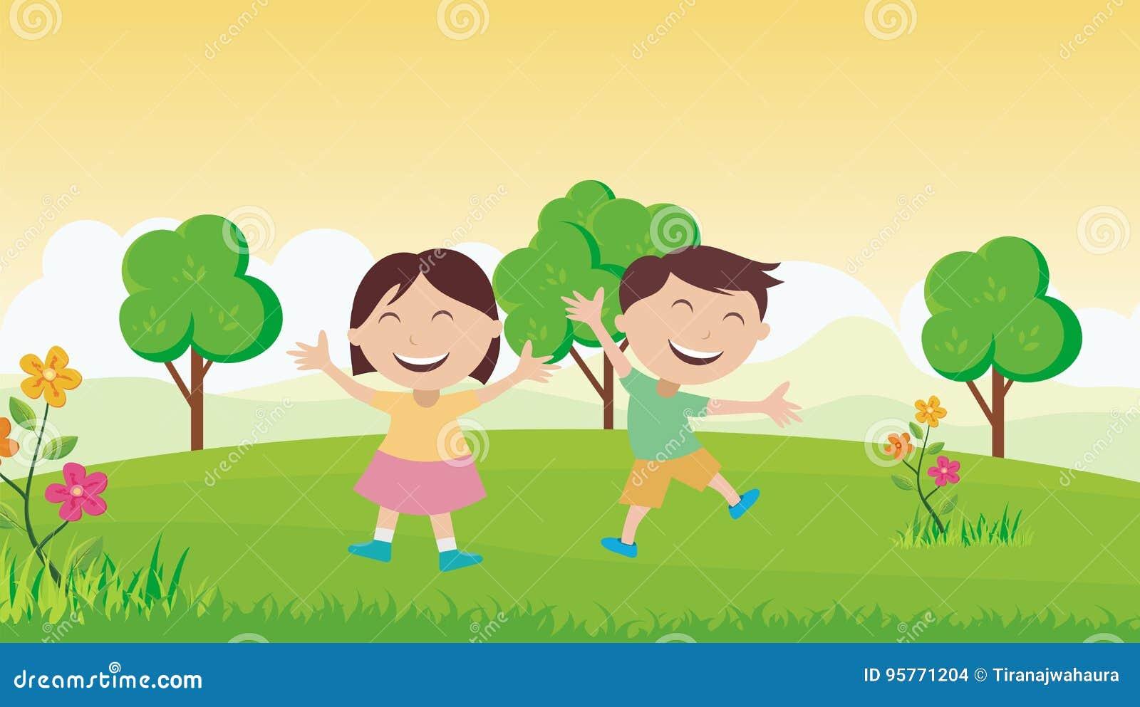 Szczęśliwi dzieciaki z pięknym krajobrazem
