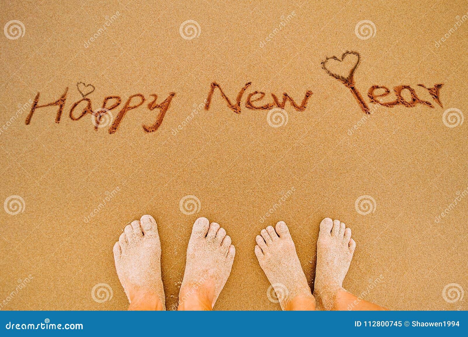 Szczęśliwi nowego roku i kochanka cieki