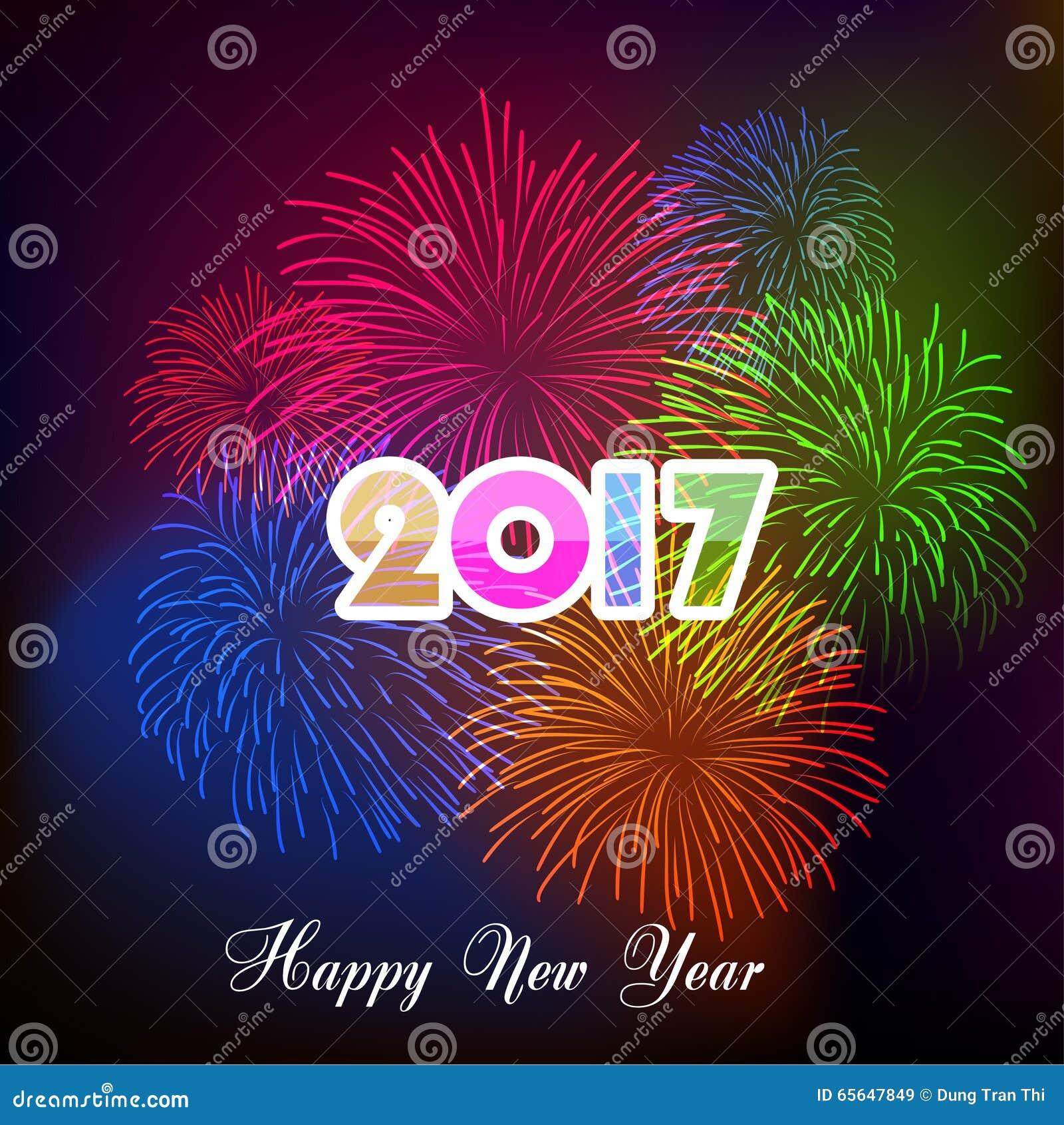 Szczęśliwi nowy rok fajerwerki 2017 wakacji tła projekt