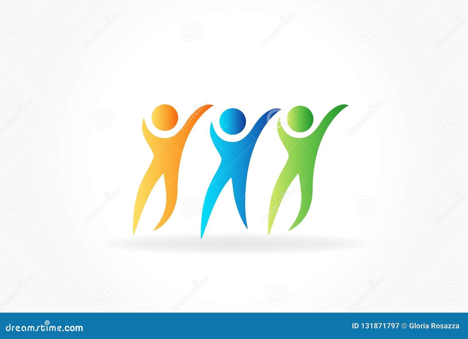 Szczęśliwi przyjaźń logo ikony wektoru ludzie