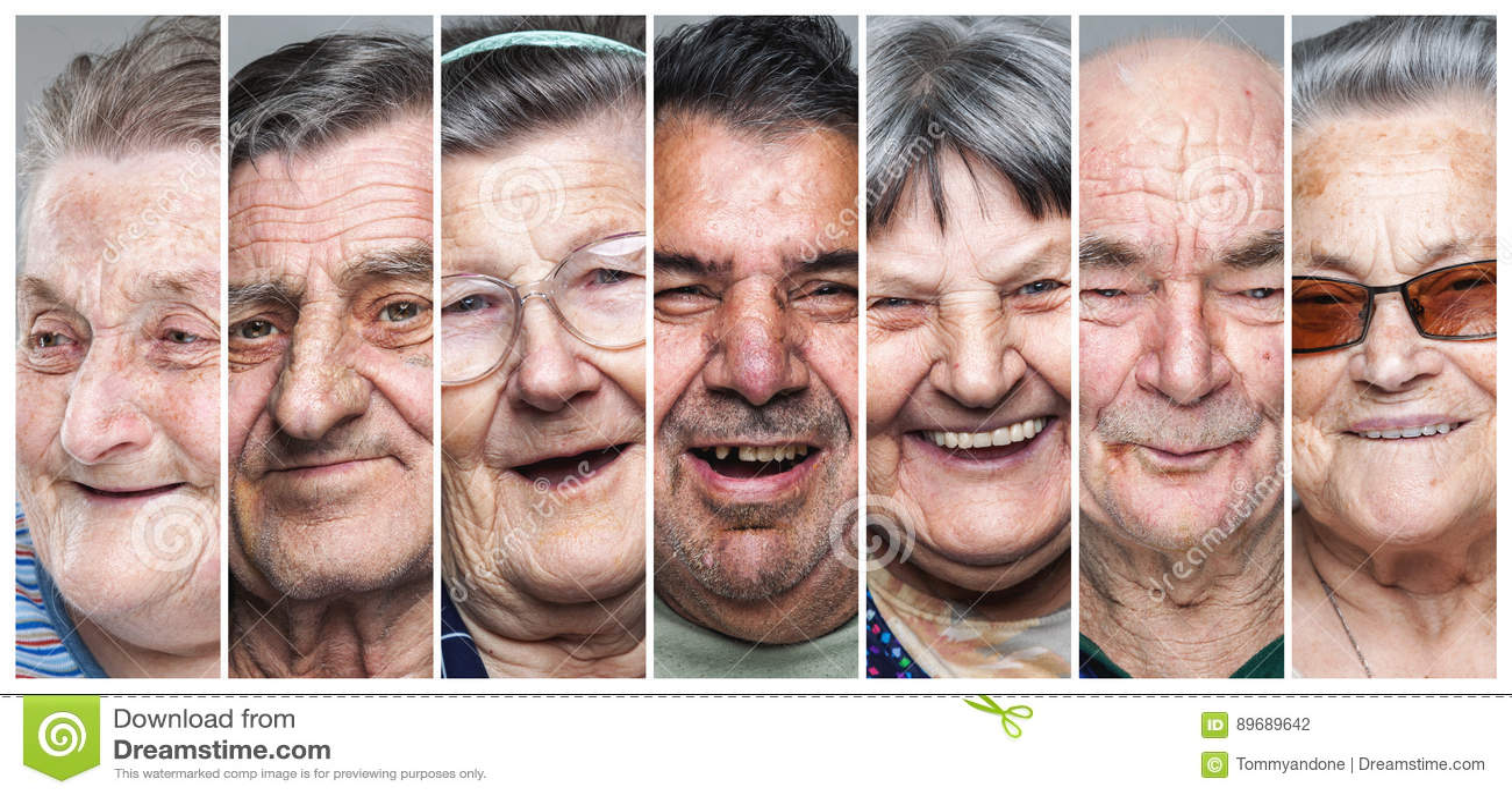 Szczęśliwi starzy ludzie Kolaż starsi mężczyzna i kobiety zadowoleni, uśmiechnięci,