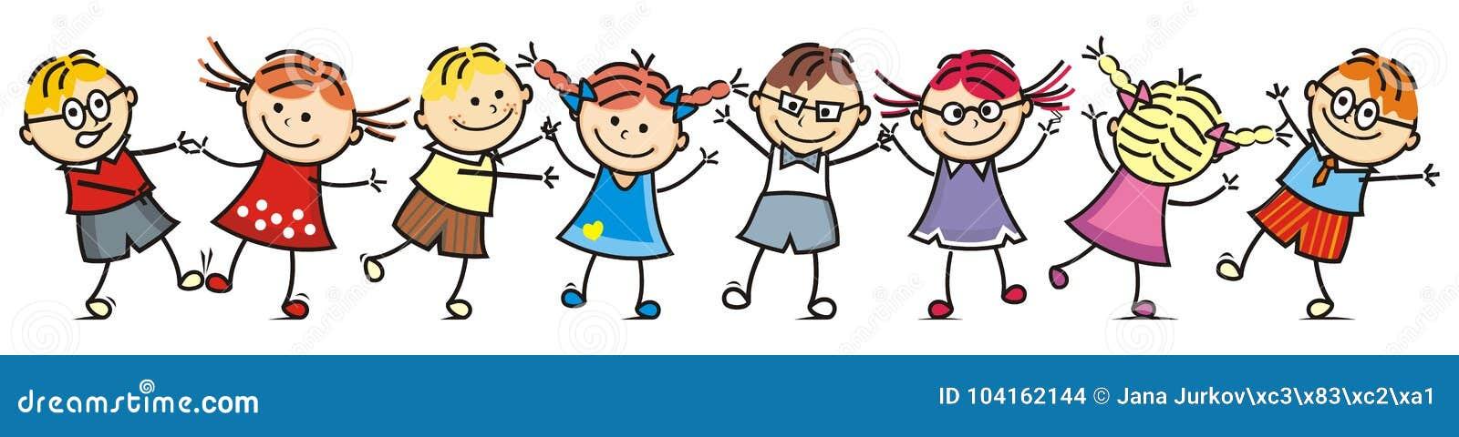 Szczęśliwi tanów dzieciaki, grupa dzieci, uśmiech twarz