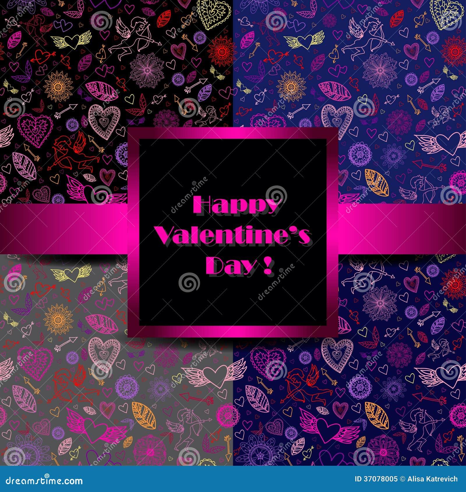 Download Szczęśliwi Walentynka Znaki Na Czarnym Tle. Ilustracja Wektor - Ilustracja złożonej z dziewczyna, arte: 37078005