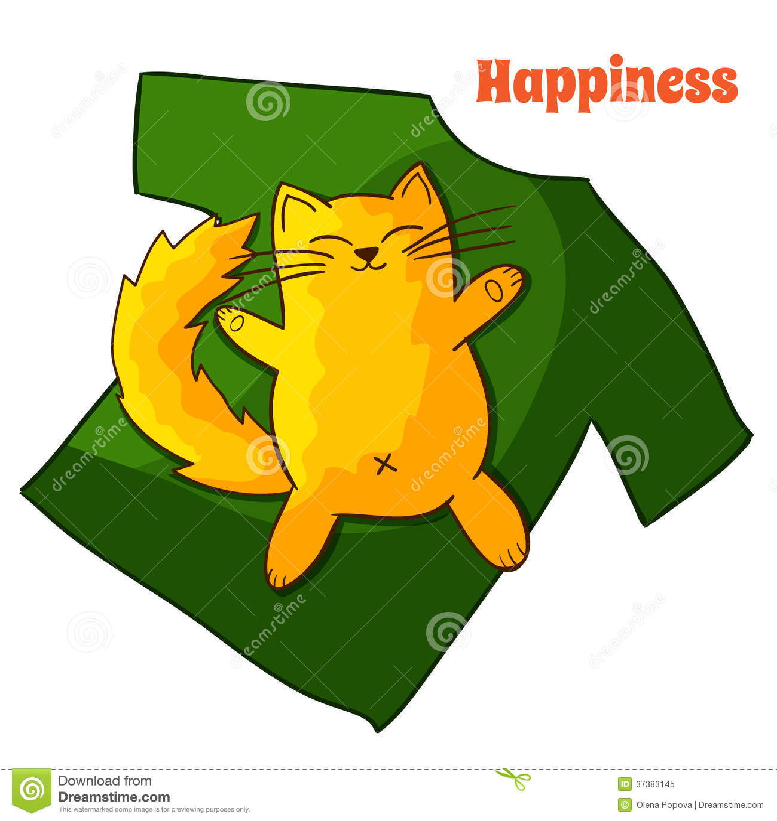 Szczęśliwy śmieszny Gnuśny kreskówka kot