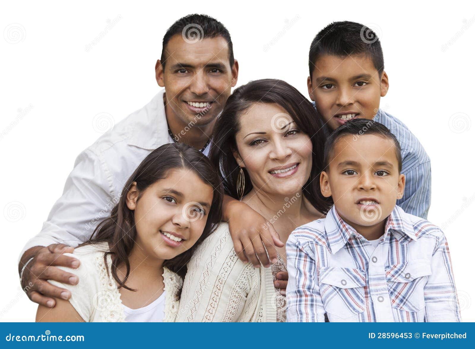 Szczęśliwy Atrakcyjny Latynoski Rodzinny portret na bielu