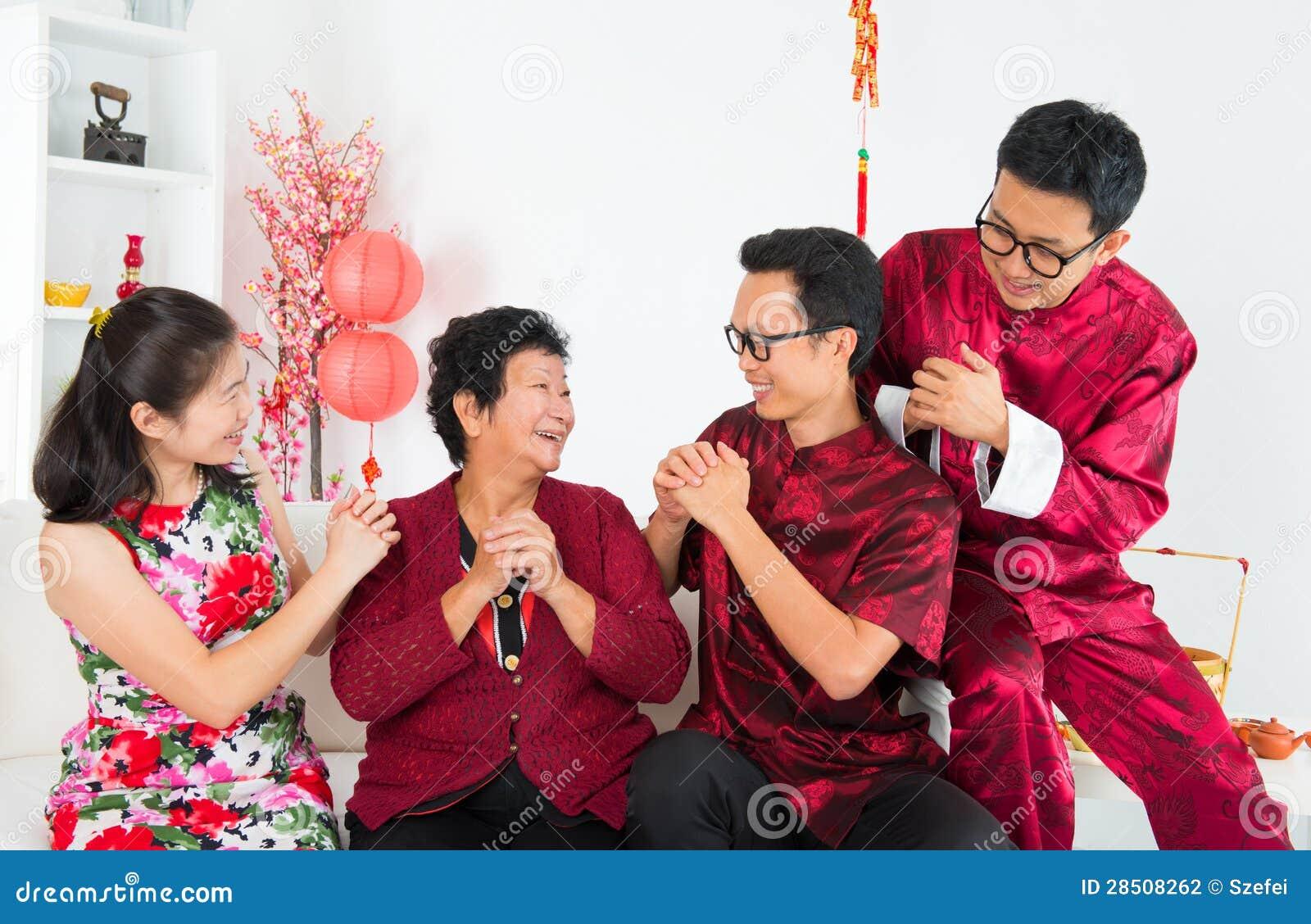 Szczęśliwy Azjatycki zjazd rodzinny
