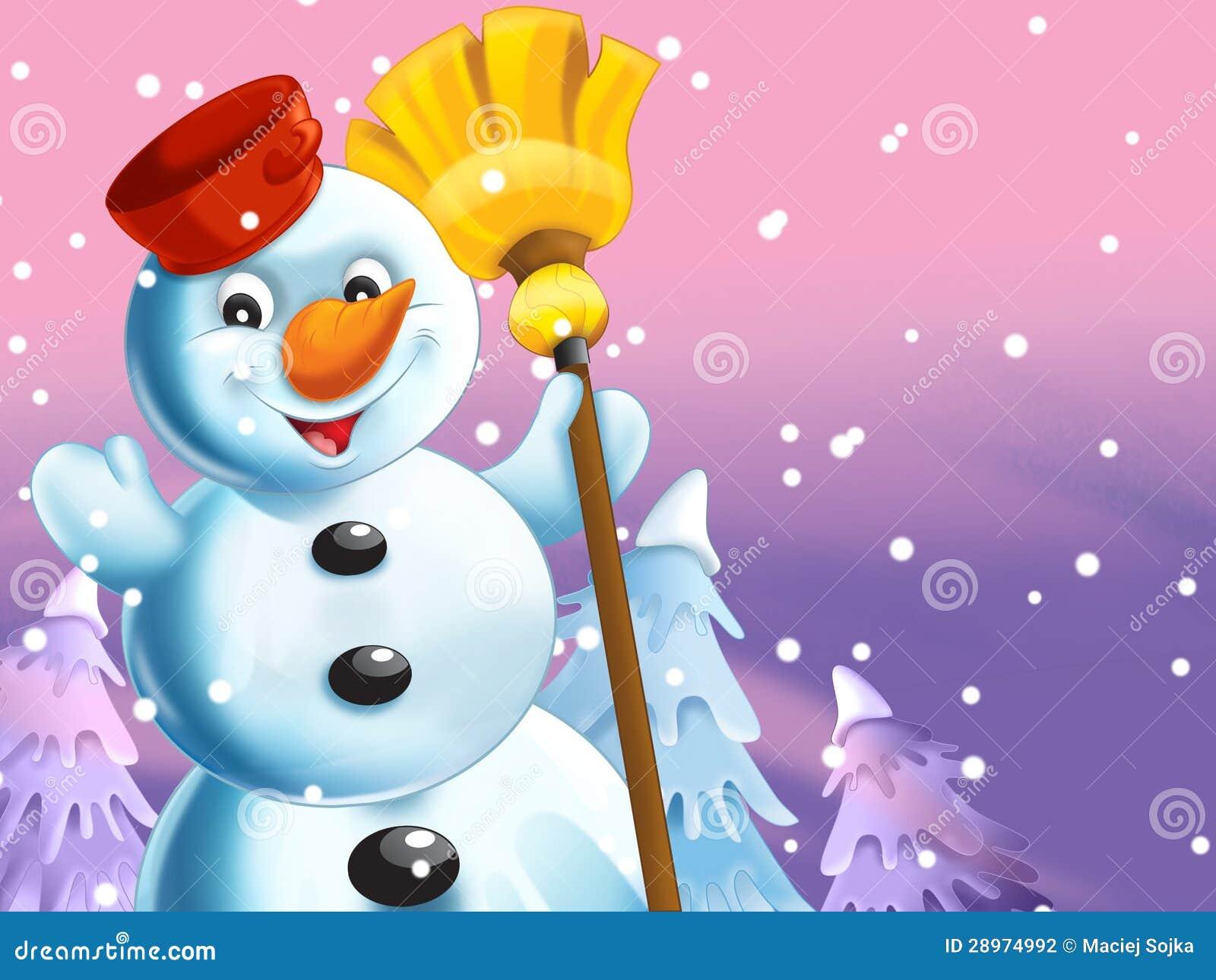 Szczęśliwy bałwan w boże narodzenie nastroju - płatki śniegu