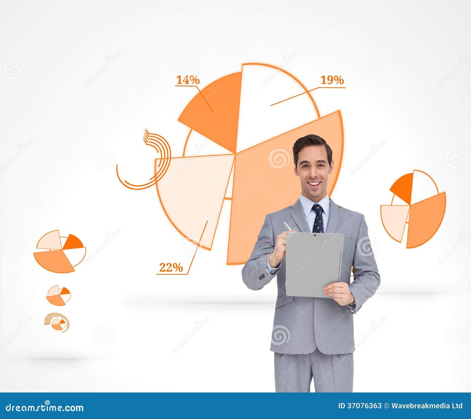 Download Szczęśliwy Biznesmen Trzyma Schowek Obraz Stock - Obraz złożonej z hairball, well: 37076363