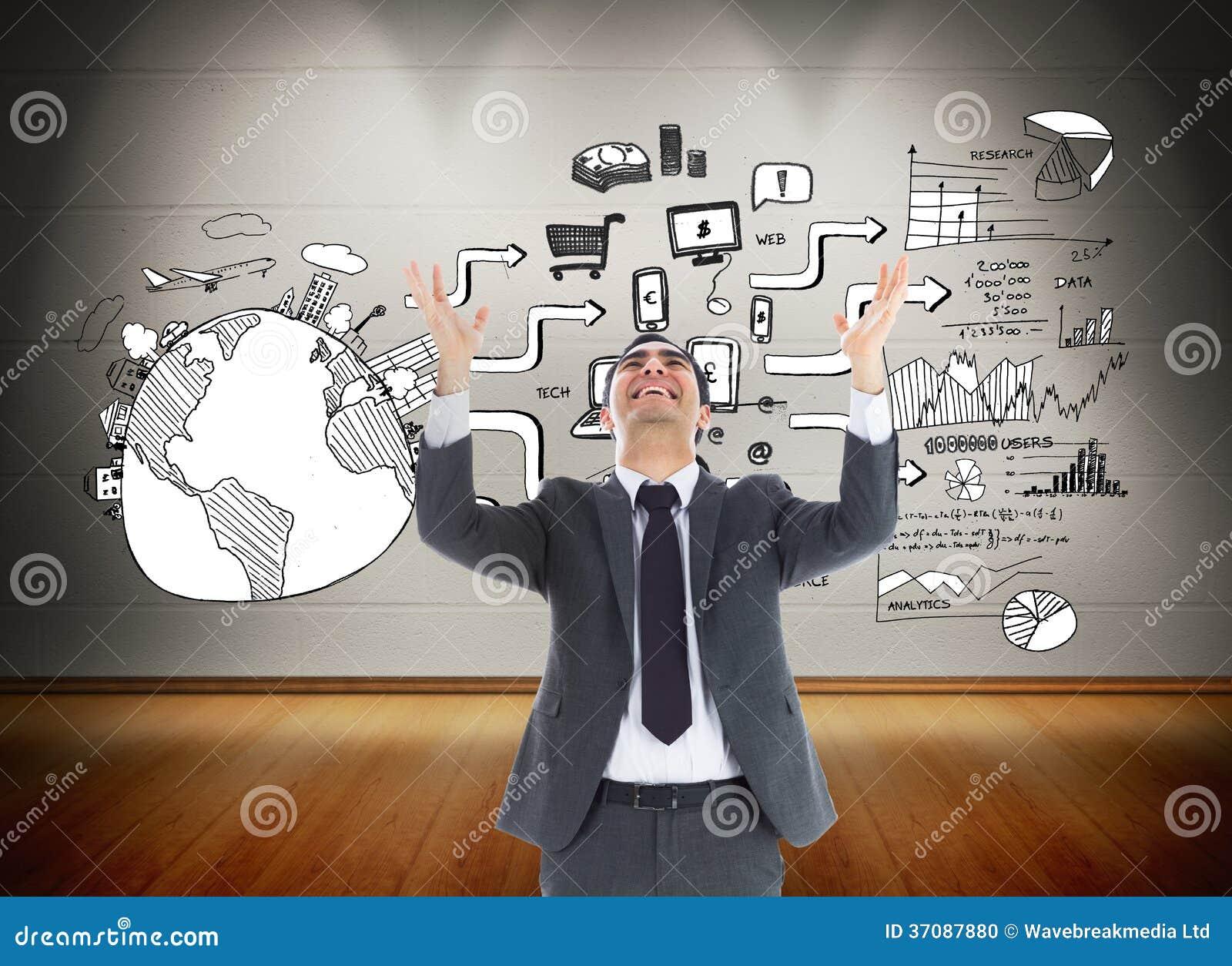 Download Szczęśliwy Biznesmen Z Rękami Podnosić Zdjęcie Stock - Obraz złożonej z przyrząda, globalny: 37087880