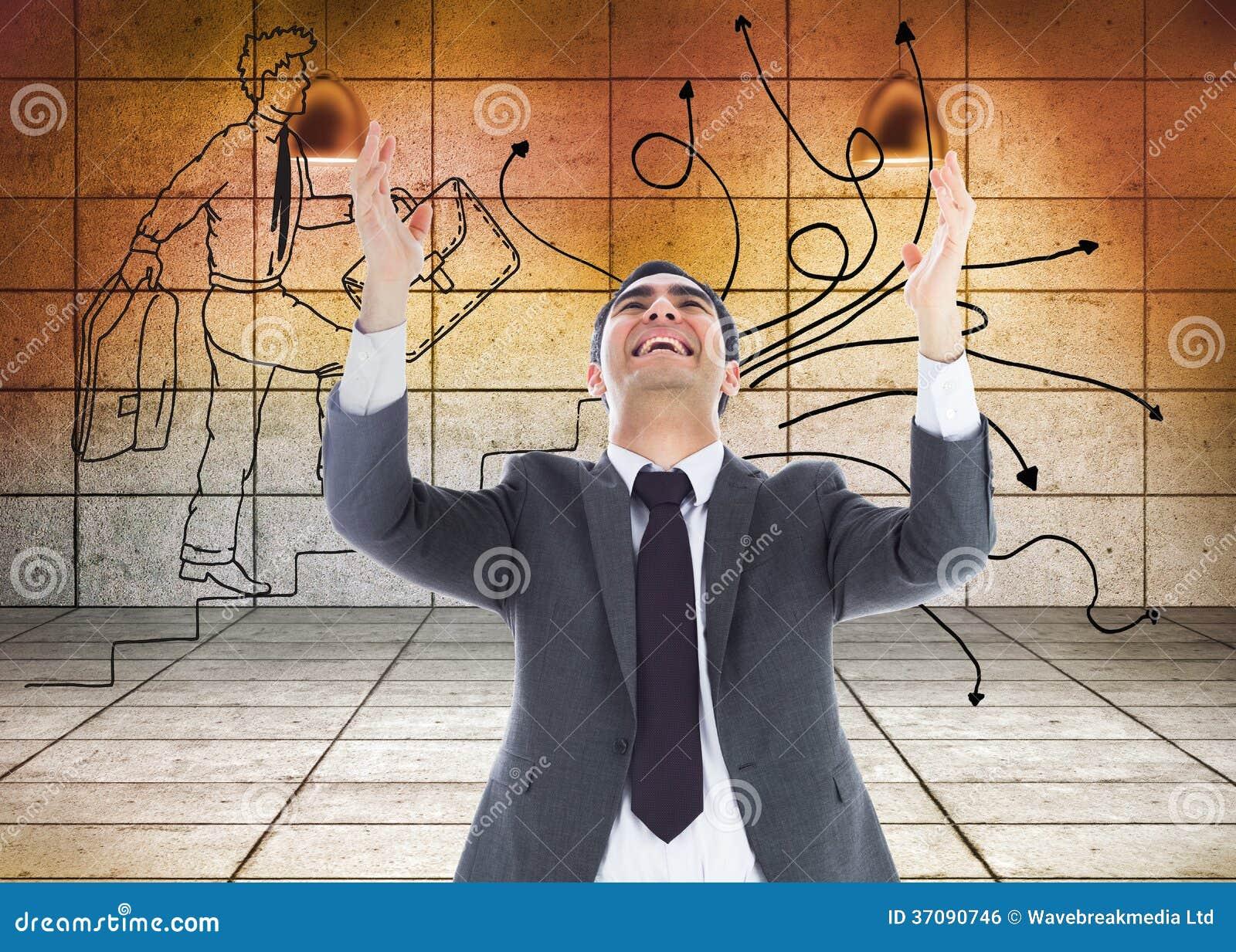 Download Szczęśliwy Biznesmen Z Rękami Podnosić Zdjęcie Stock - Obraz złożonej z profesjonalizm, pokój: 37090746