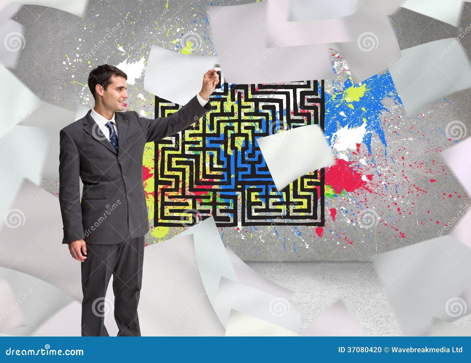 Download Szczęśliwy Biznesmena Macanie Zdjęcie Stock - Obraz złożonej z farba, potomstwa: 37080420
