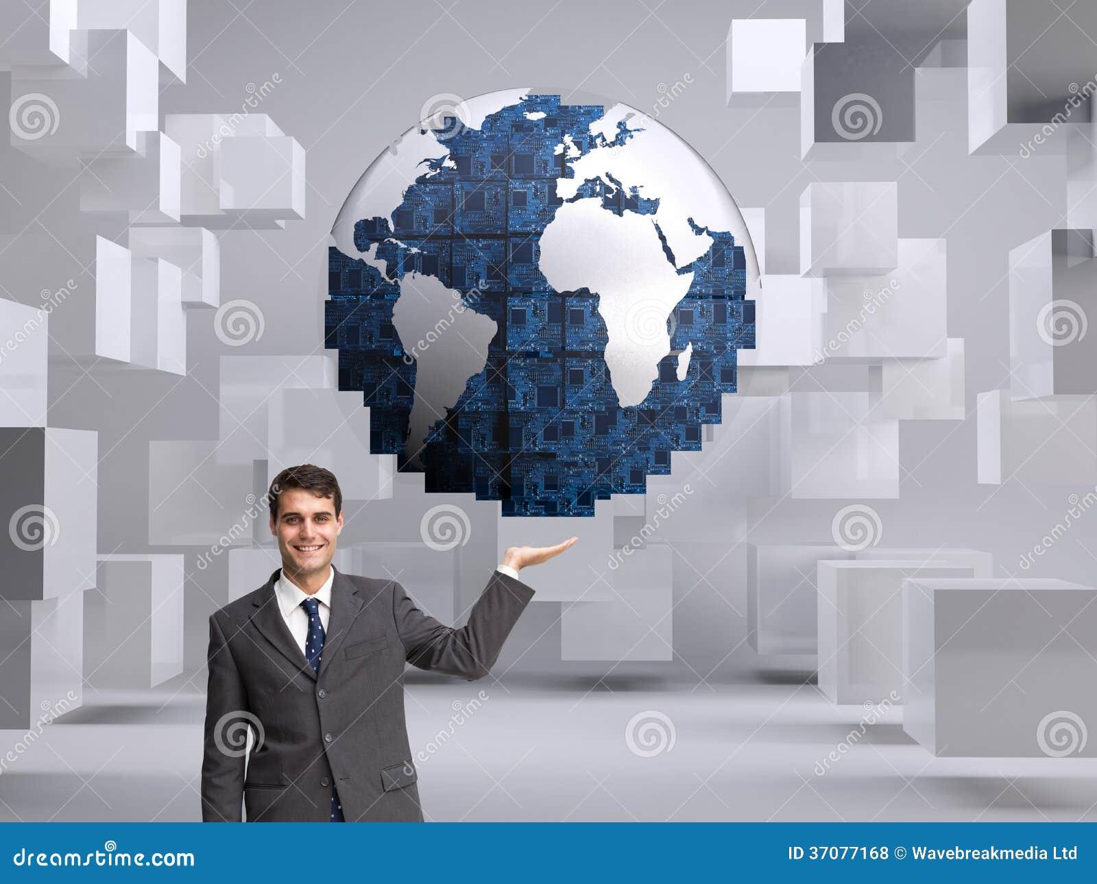 Download Szczęśliwy Biznesmena Przedstawiać Zdjęcie Stock - Obraz złożonej z jeden, planeta: 37077168