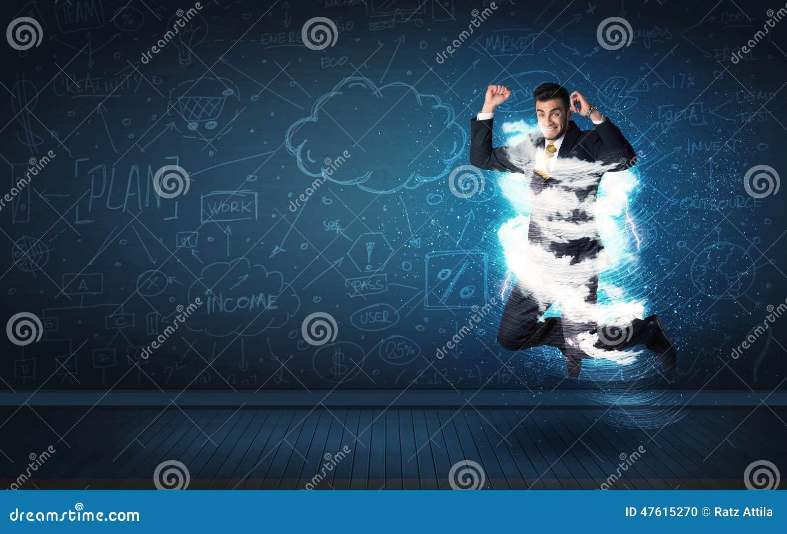 Szczęśliwy biznesowego mężczyzna doskakiwanie z burzy chmurą wokoło on