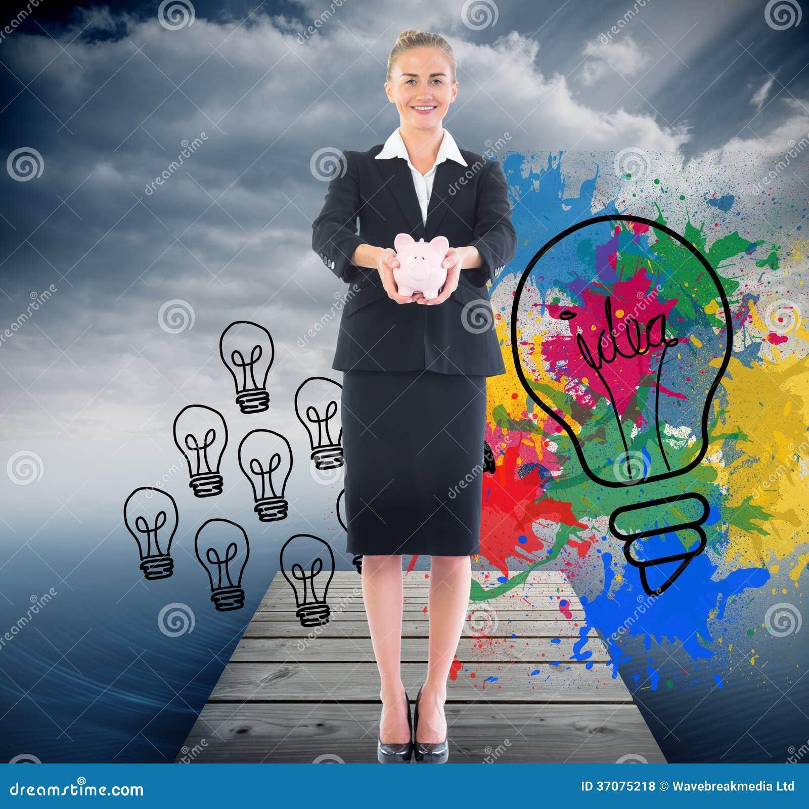 Download Szczęśliwy Bizneswoman Trzyma Prosiątko Banka Ilustracji - Ilustracja złożonej z grafika, ilustracje: 37075218