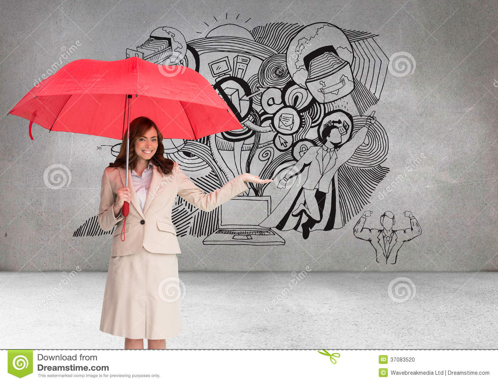 Download Szczęśliwy Bizneswomanu Mienia Parasol Zdjęcie Stock - Obraz złożonej z pokój, mądrze: 37083520
