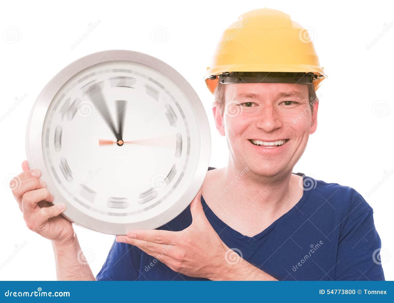 Szczęśliwy budynku czas (wiruje zegarek wręcza wersję)