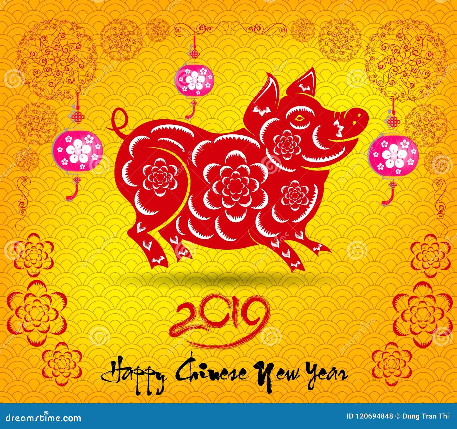 Szczęśliwy Chiński nowy rok 2019 rok świnia księżycowy nowy rok