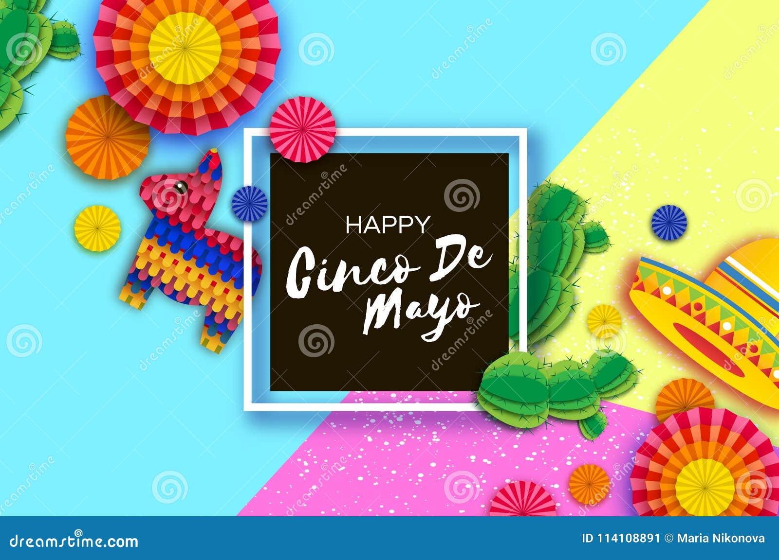Szczęśliwy Cinco De Mayo kartka z pozdrowieniami Kolorowy Papierowy fan, Śmieszny Pinata i kaktus w papieru cięciu, projektujemy