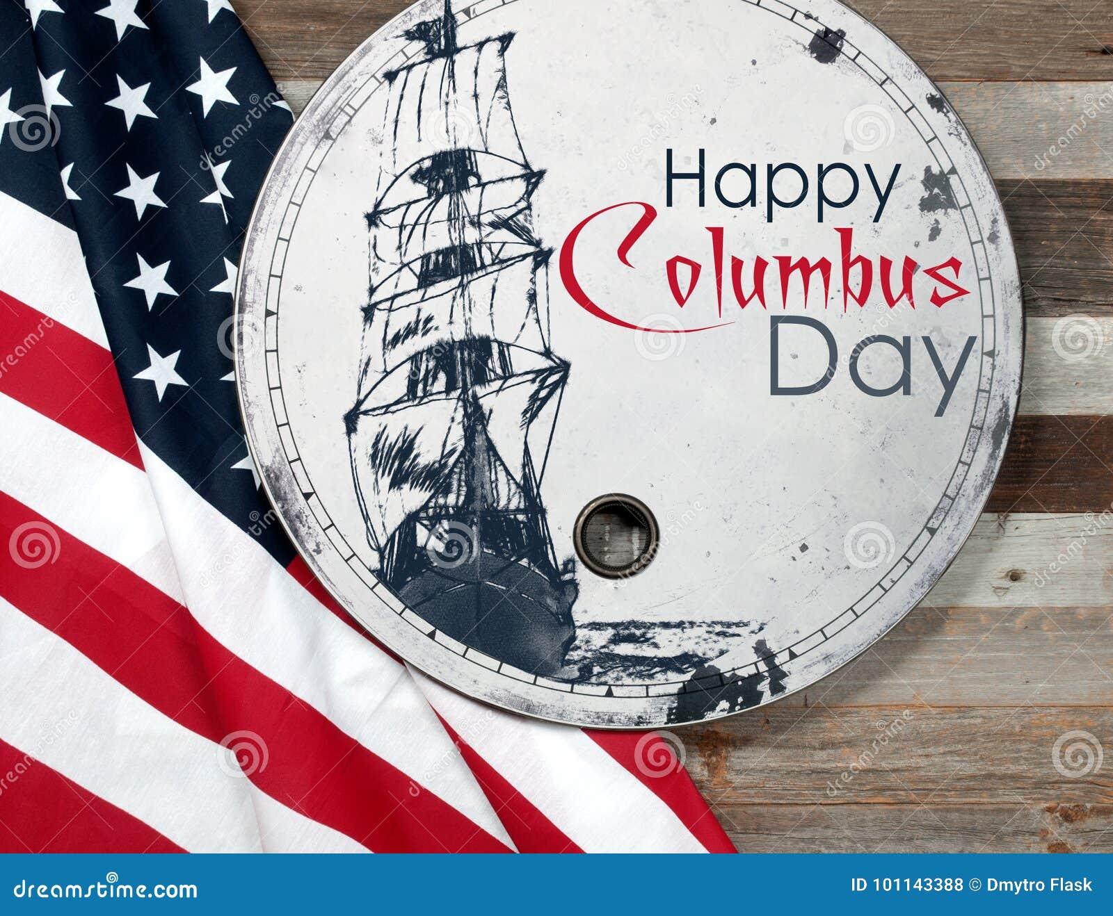 Szczęśliwy Columbus dzień united państwa bandery