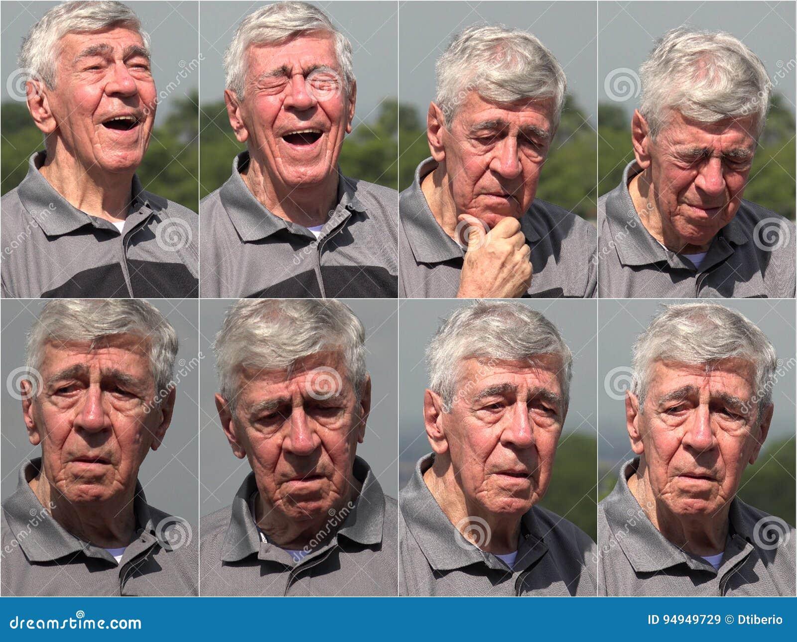 Szczęśliwy demencja Starszego mężczyzna kolaż