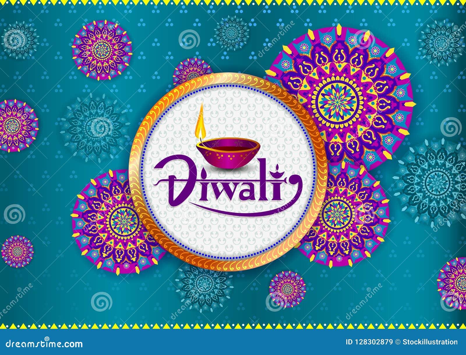 Szczęśliwy Diwali światła festiwal India powitania tło