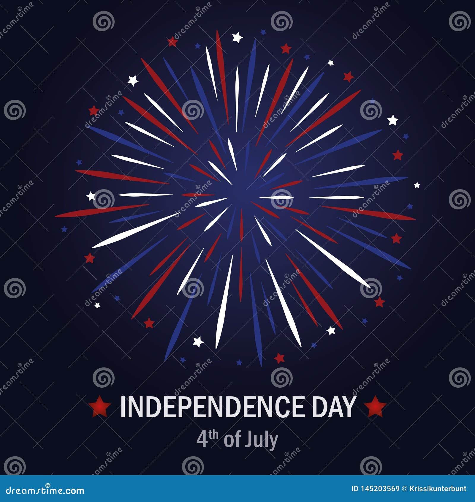 Szczęśliwy dni niepodległości usa fajerwerk w błękitnych i czerwonych kolorach