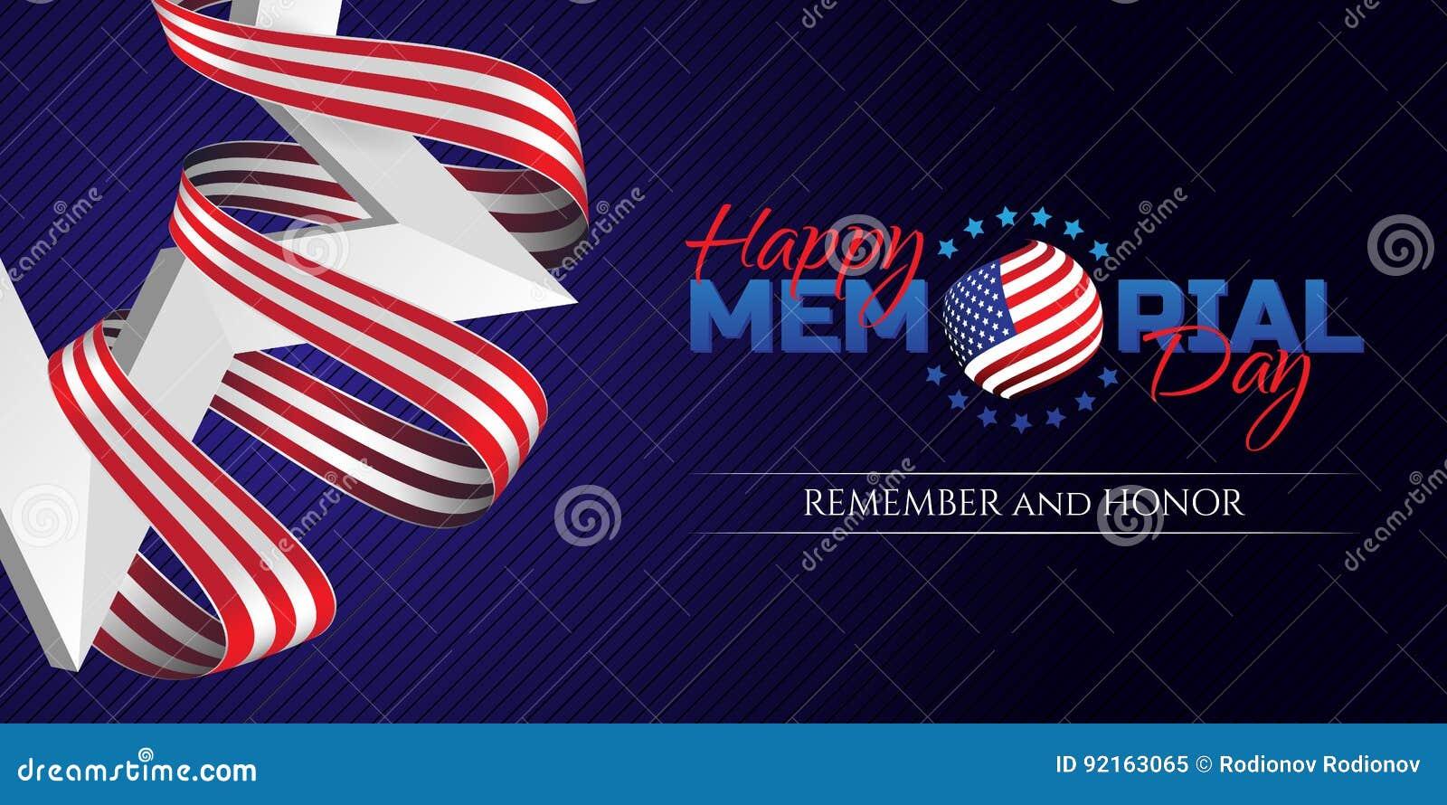 Szczęśliwy dnia pamięci kartka z pozdrowieniami z flaga państowowa barwi faborek i biel gwiazdę na ciemnym tle Pamięta I Honoruje