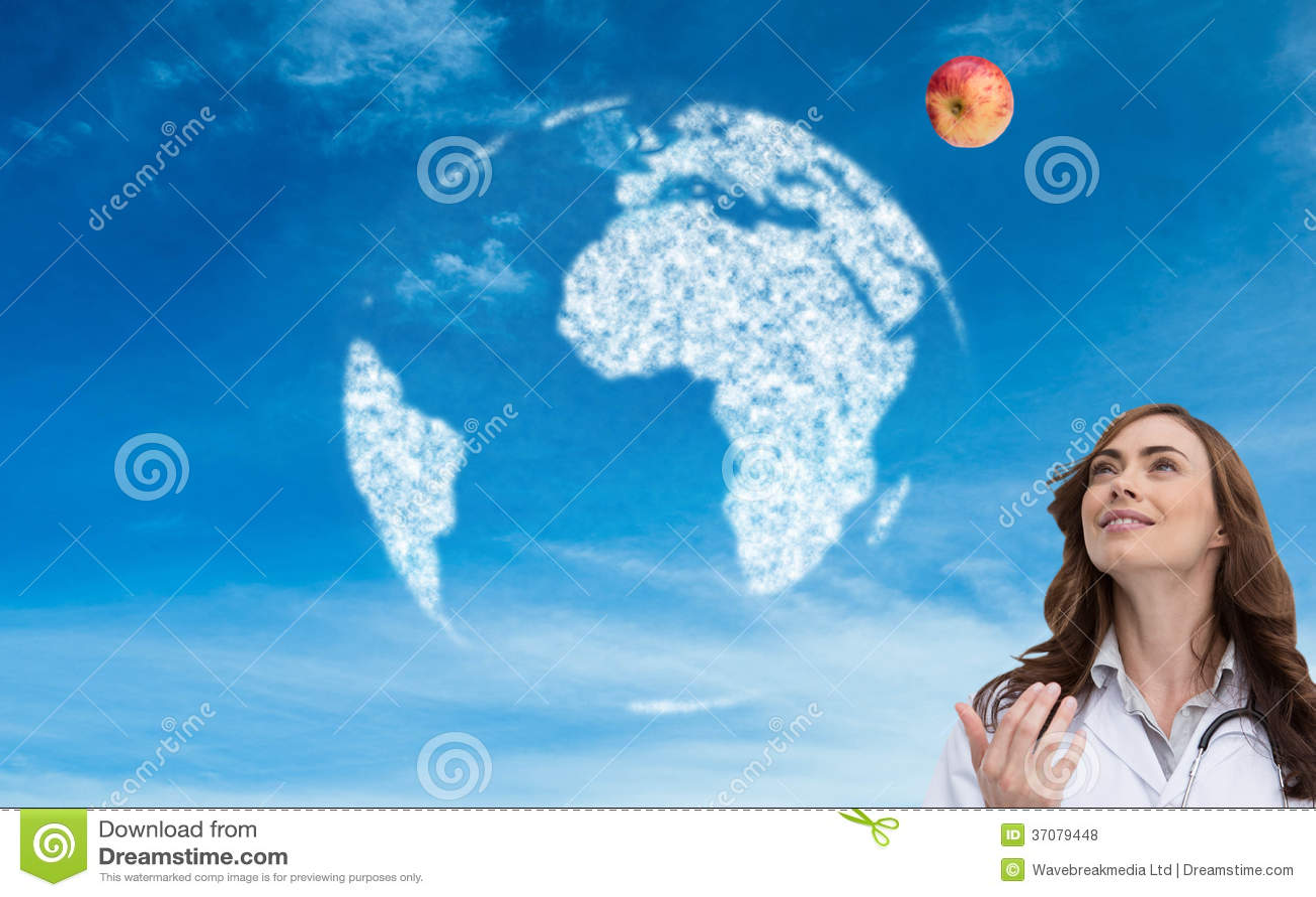 Download Szczęśliwy Doktorski Miotania Jabłko Ilustracji - Ilustracja złożonej z globalny, chmurny: 37079448