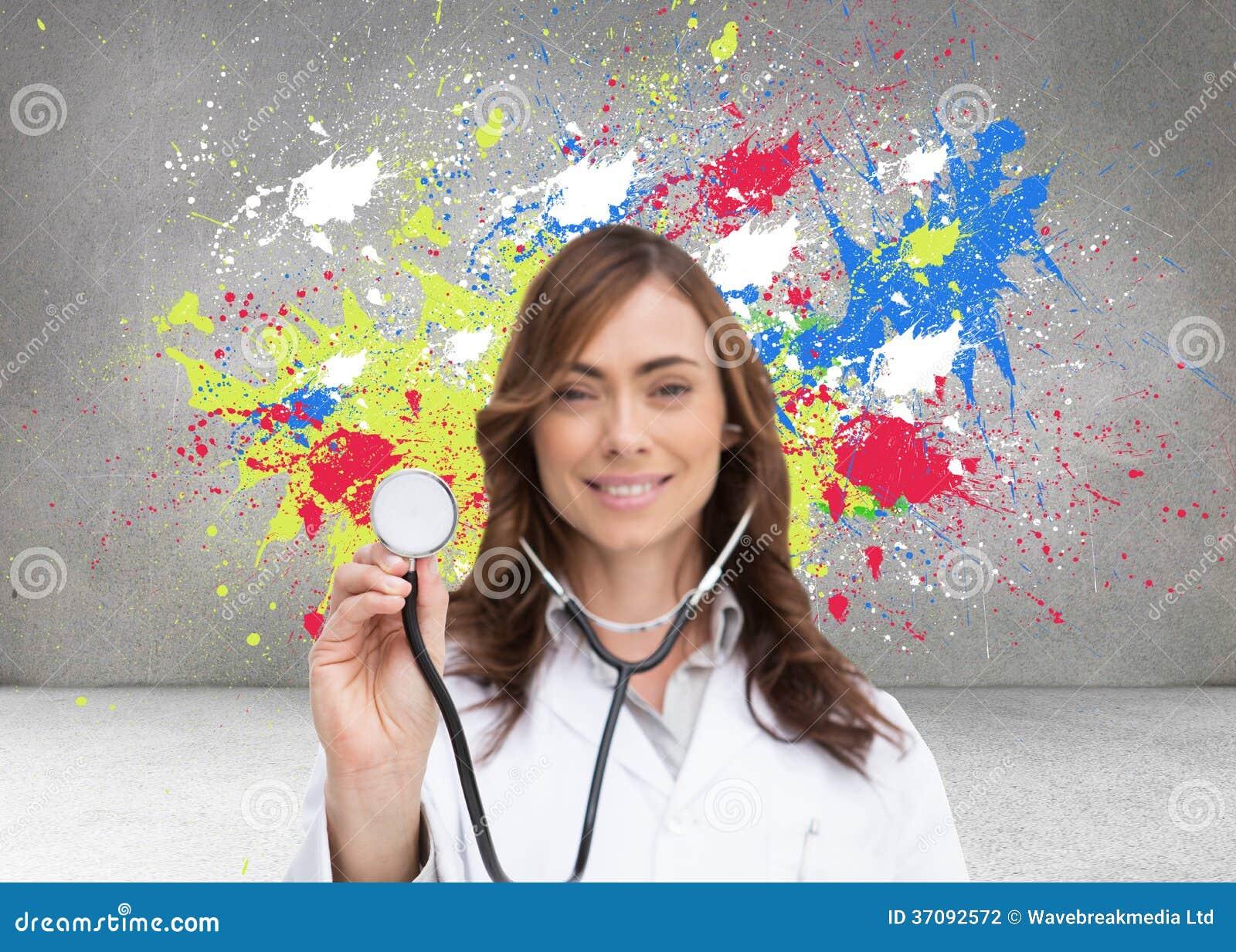 Download Szczęśliwy Doktorski Używa Stetoskop Zdjęcie Stock - Obraz złożonej z practitioner, medyczny: 37092572