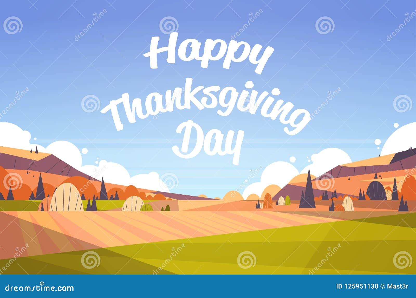 Szczęśliwy dziękczynienia kartka z pozdrowieniami teksta literowania jesieni spadku krajobraz odpowiada tło festiwalu literowania