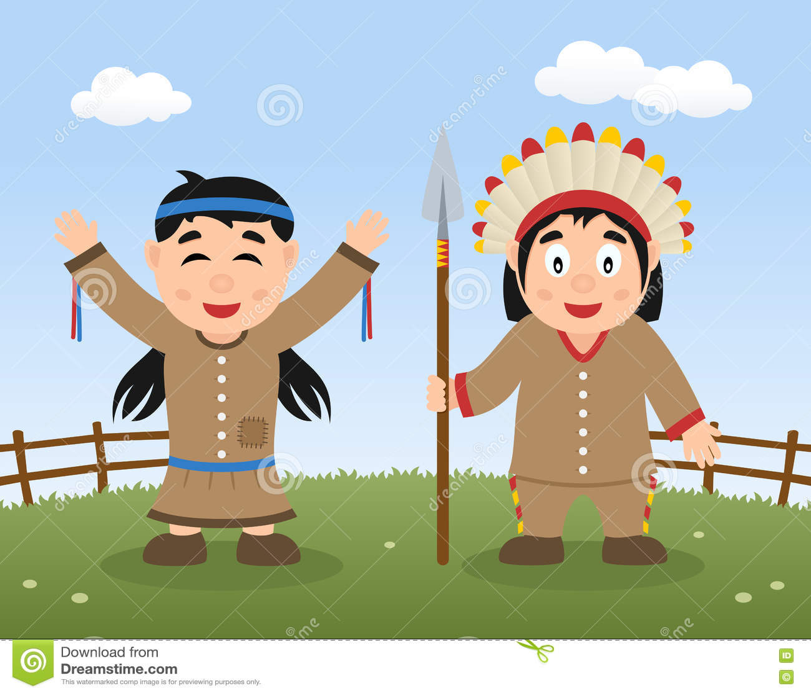 Szczęśliwy dziękczynienie dzień z Rodzimymi indianami