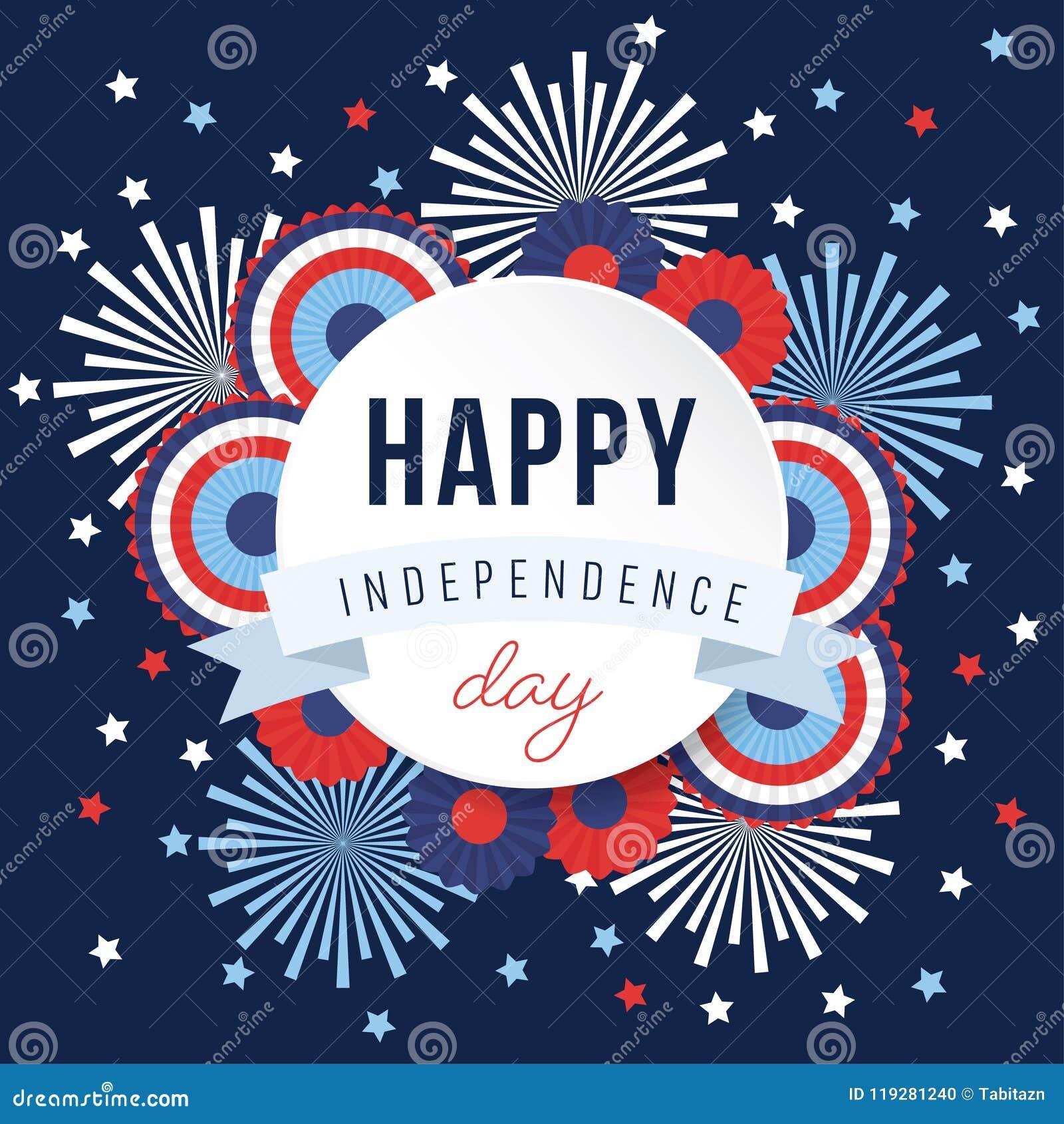 Szczęśliwy dzień niepodległości, 4th Lipa święto narodowe Świąteczny kartka z pozdrowieniami, zaproszenie z fajerwerkami i chorąg