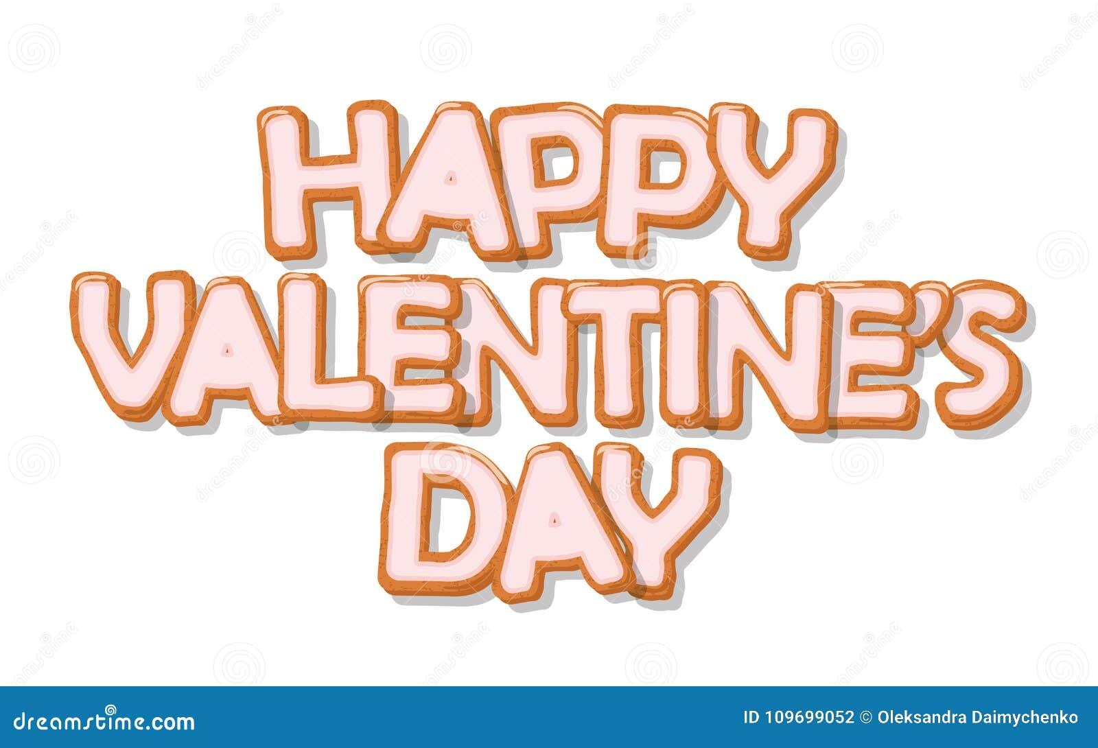 Szczęśliwy dzień valentine s Biskwitowa ręka rysujący kreskówka listy Śliczny projekt w pastelowych menchii kolorach