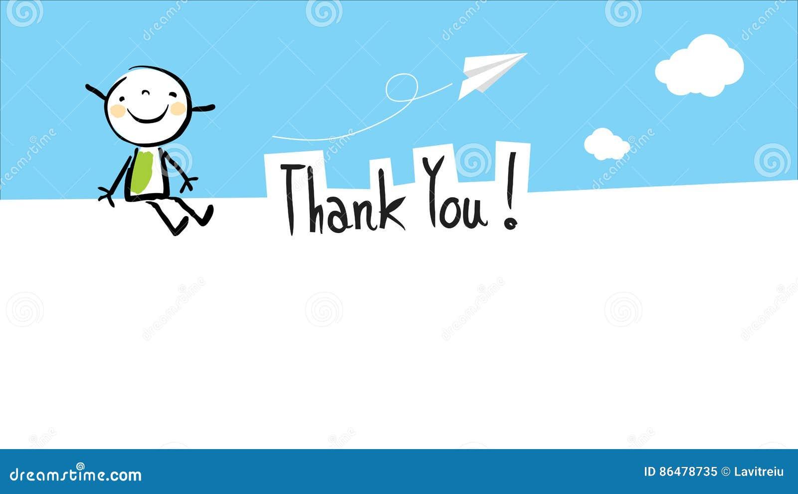 Szczęśliwy dzieciak dziękuje ciebie karcianego